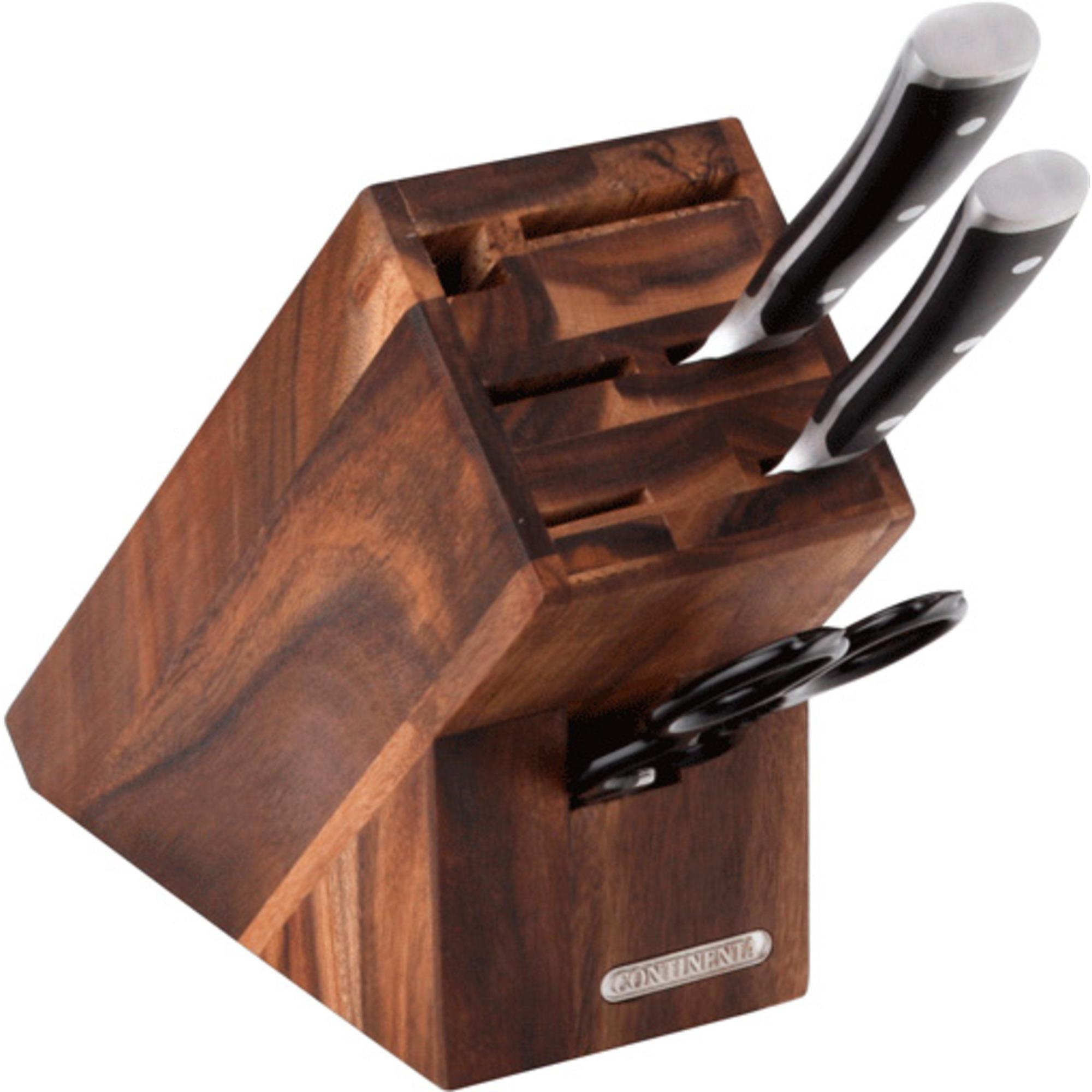 Continenta Knivblock Akacia för 5 Knivar Bryne och Sax