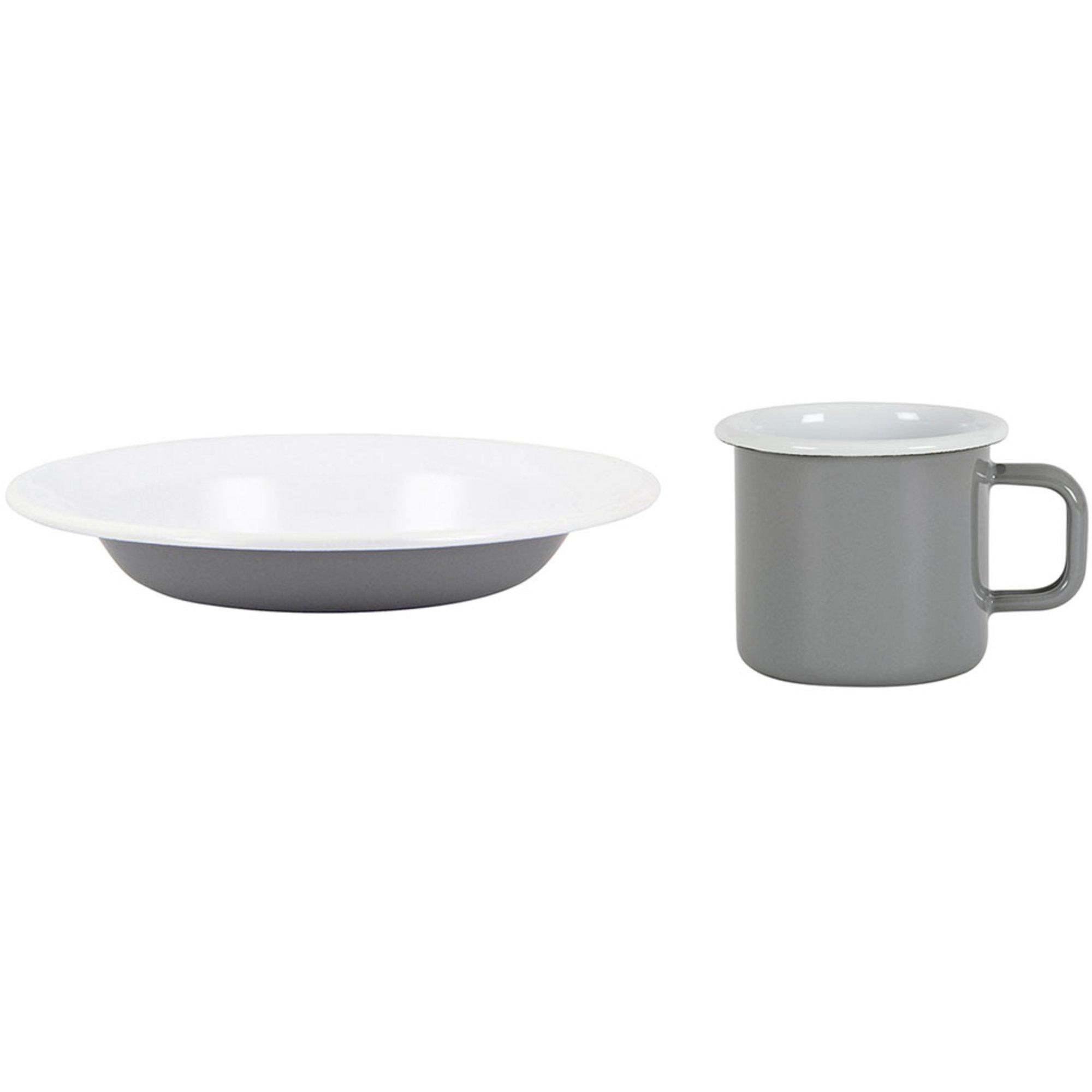 Kockums Jernverk Set med mugg och djup tallrik grå