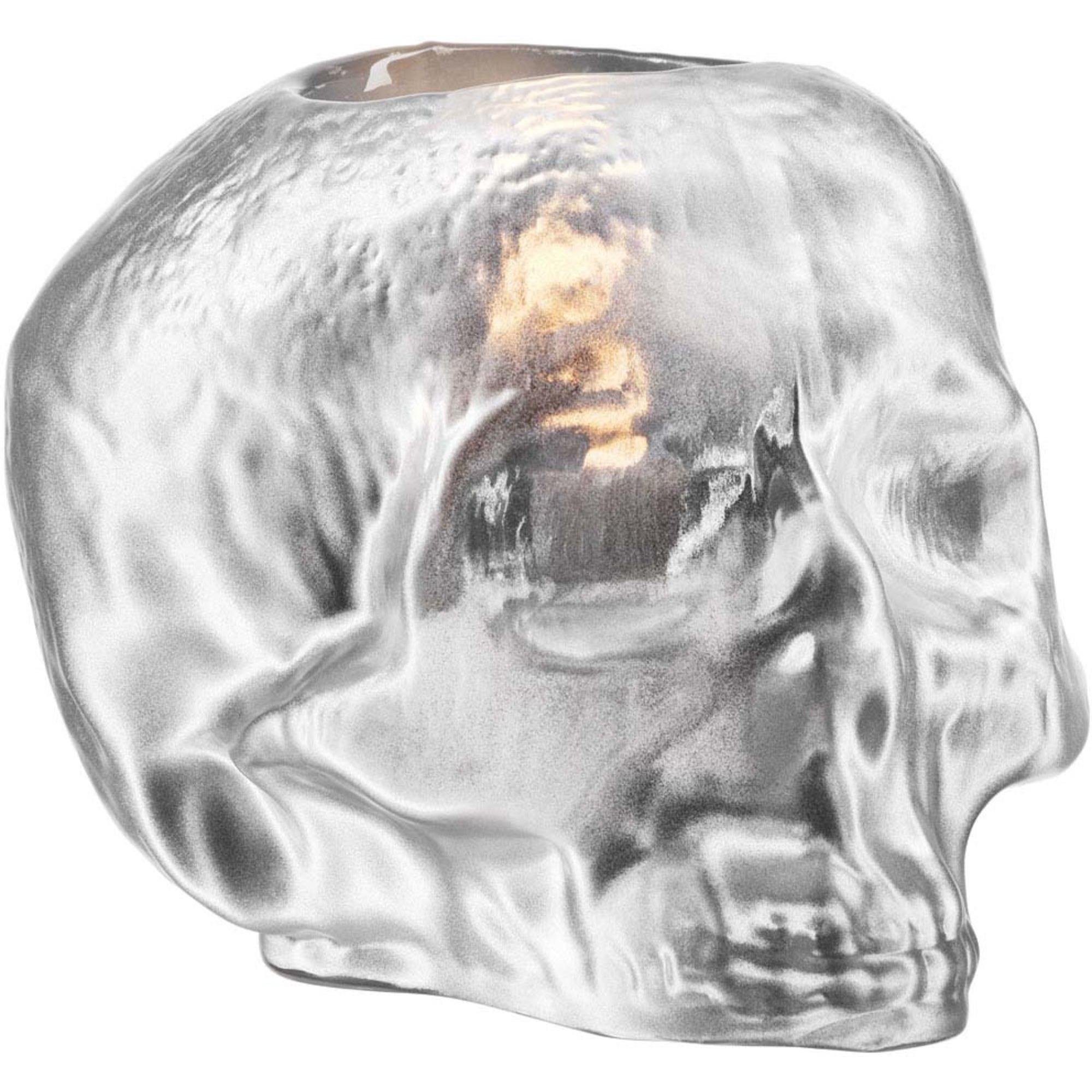 Kosta Boda Still Life Skull Ljuslykta Silver