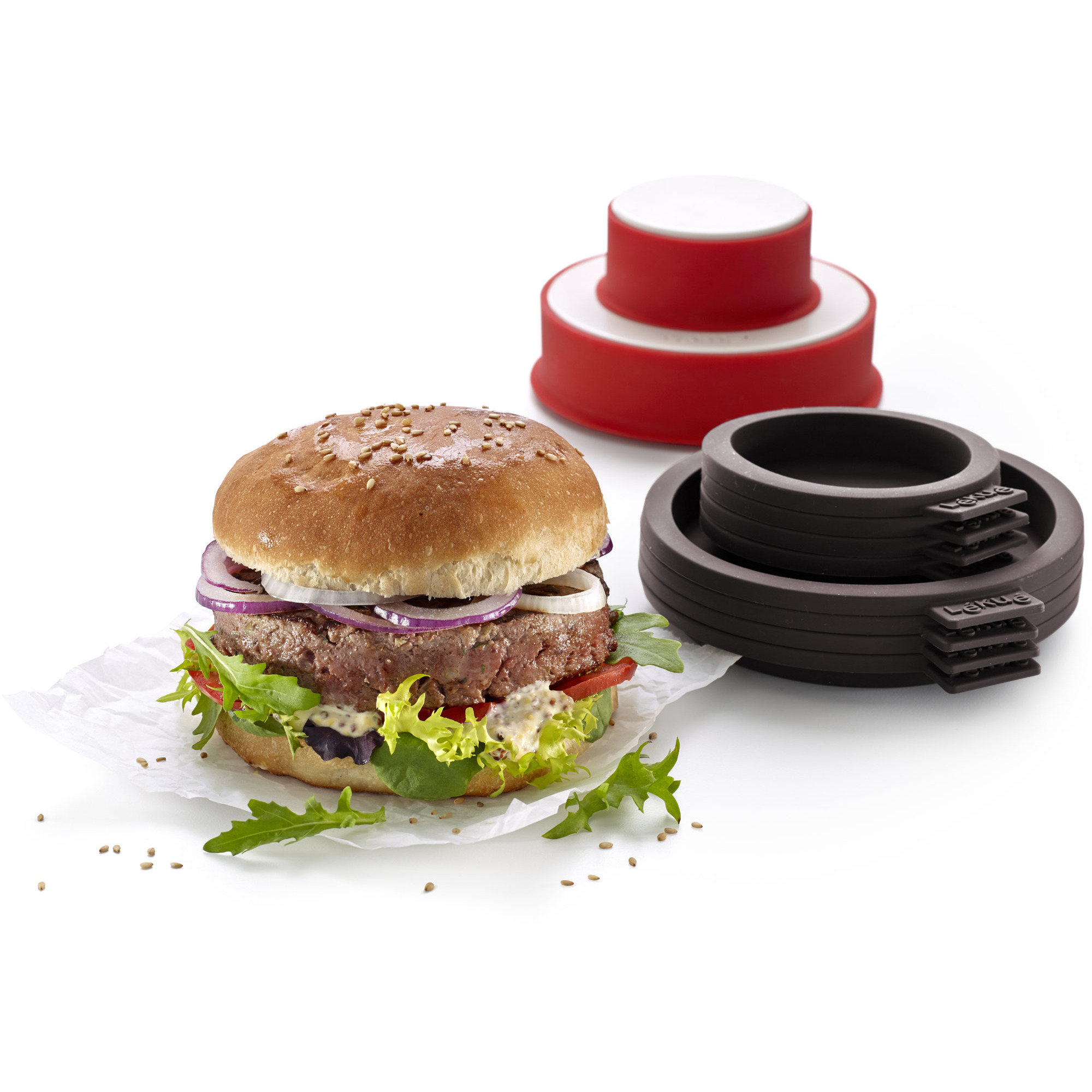Lékué Bakform till Hamburgerbröd & Hamburgerpress