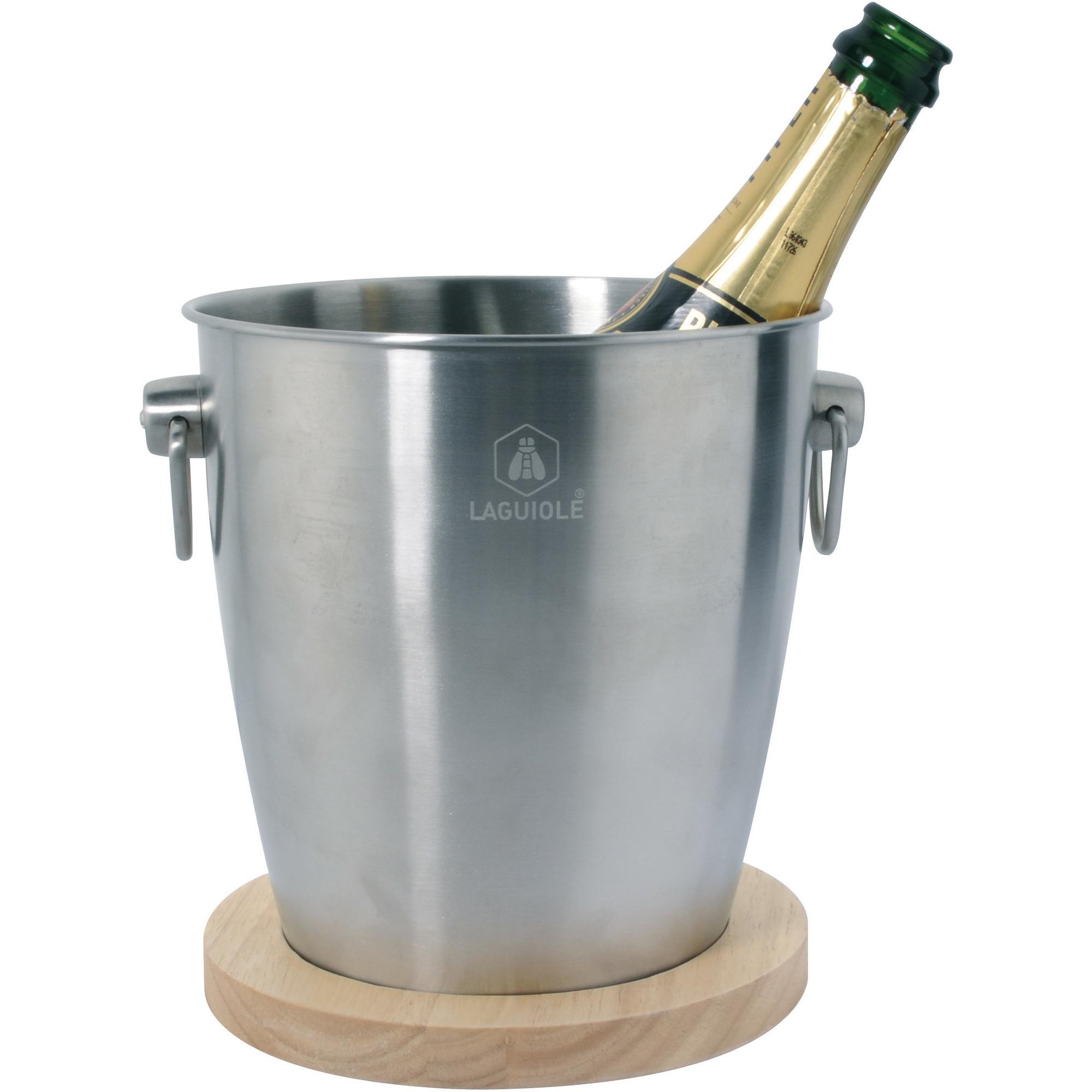 Laguiole Nassiet Champagnekylare Ishink Rostfritt Stål med Träunderlägg