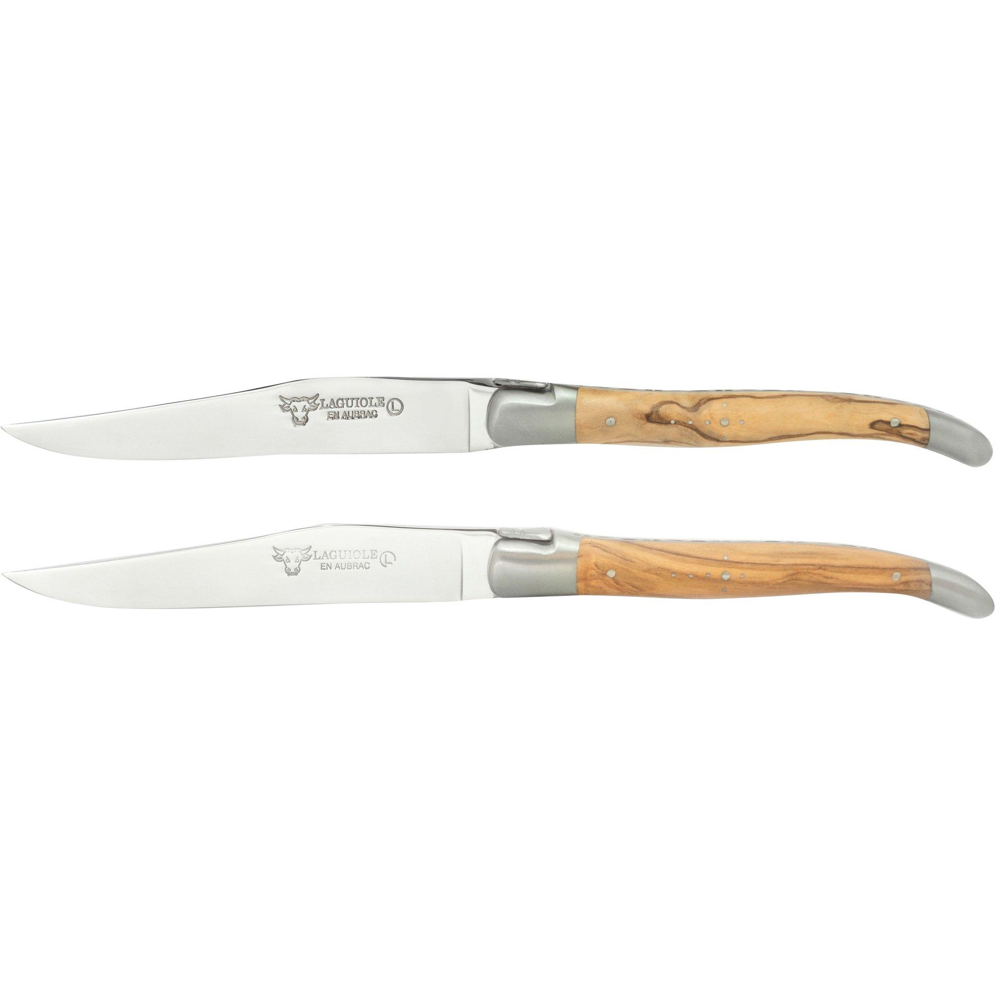 Laguiole Stekkniv 2 st olivträ och matt stål