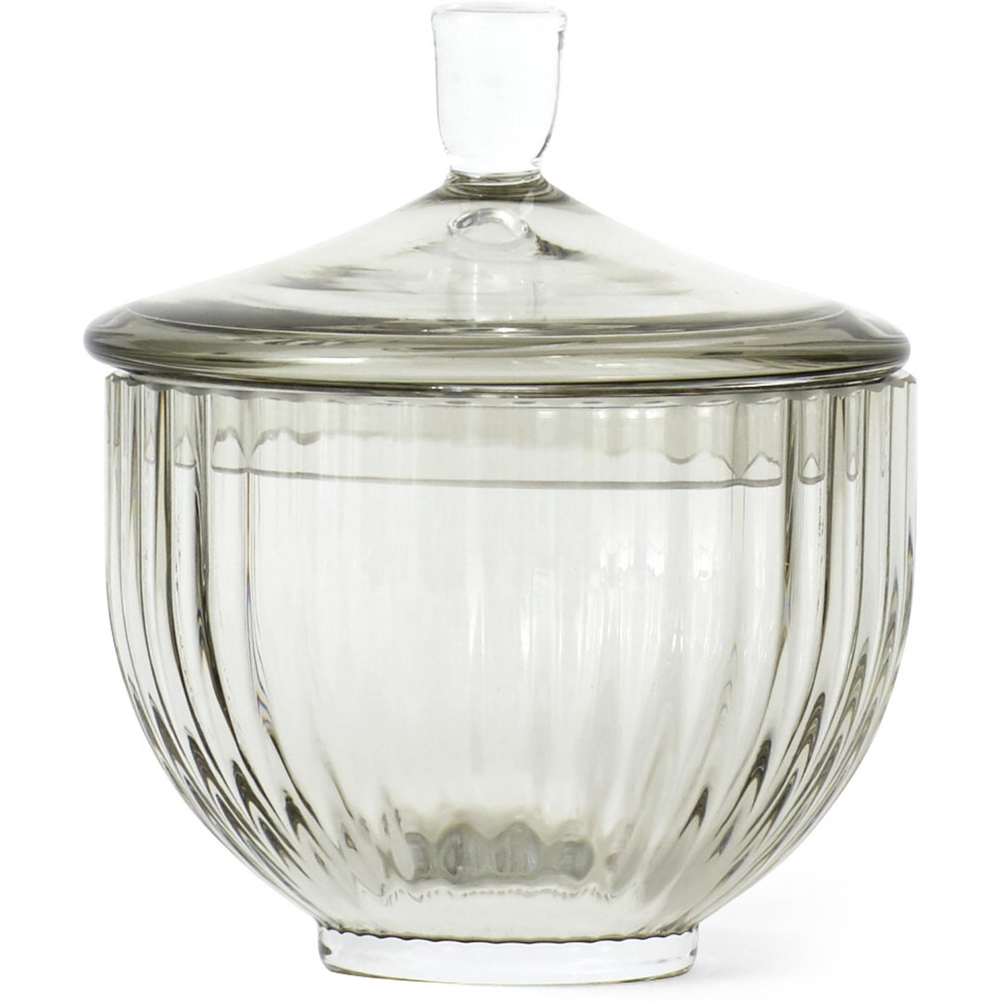 Lyngby Porcelæn Glas bonbonniere Ø 10 cm. smoke