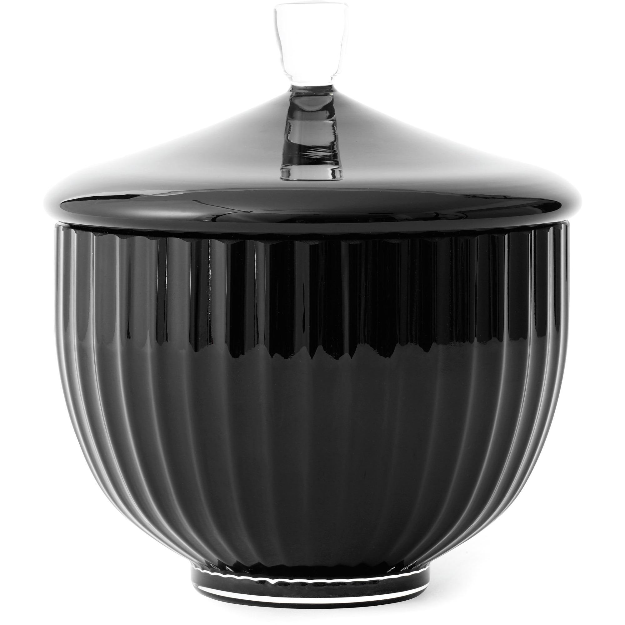 Lyngby Porcelæn Bonbonniere Ø 10 cm. svart