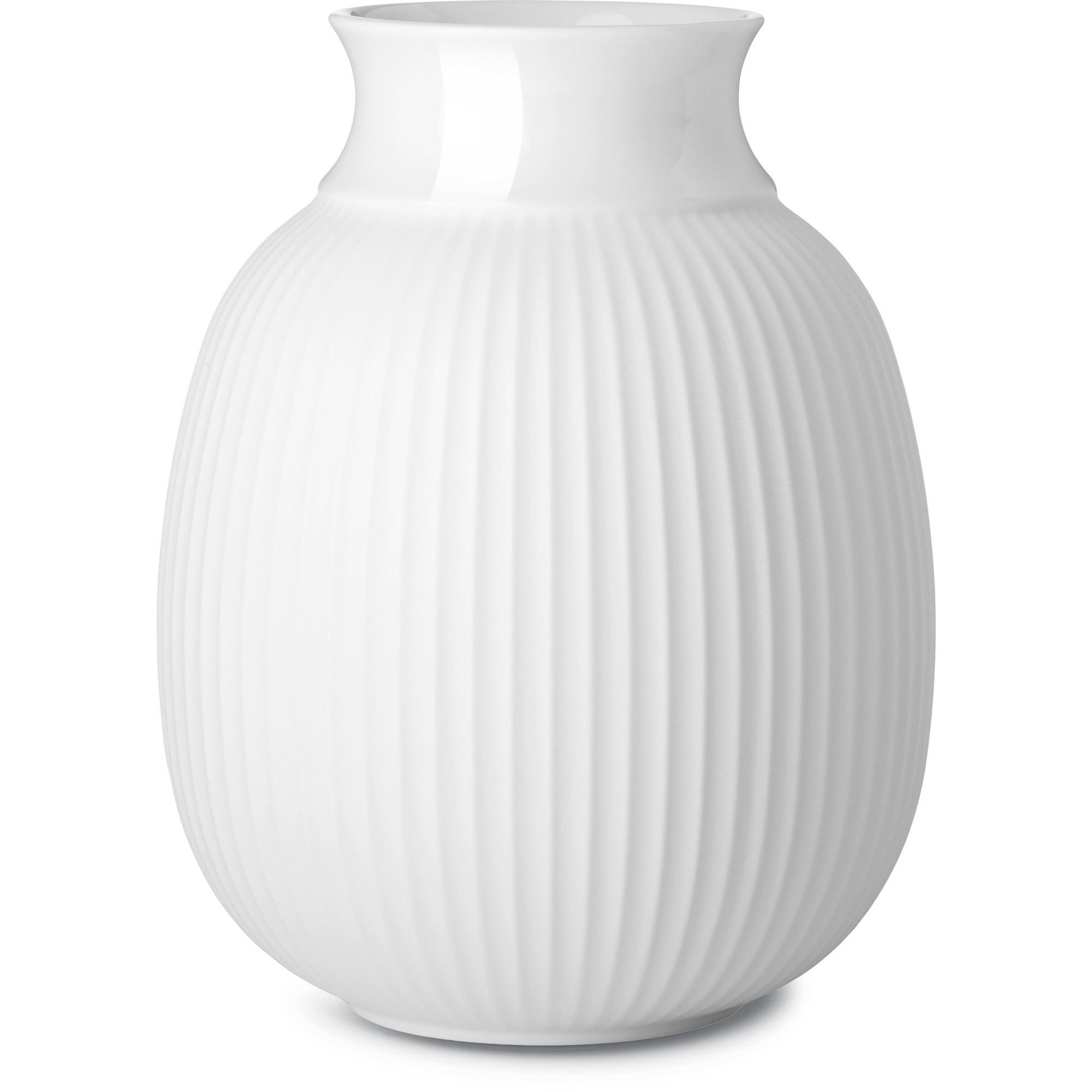 Lyngby Porcelæn Curve Vase H17 vit handgjort porslin
