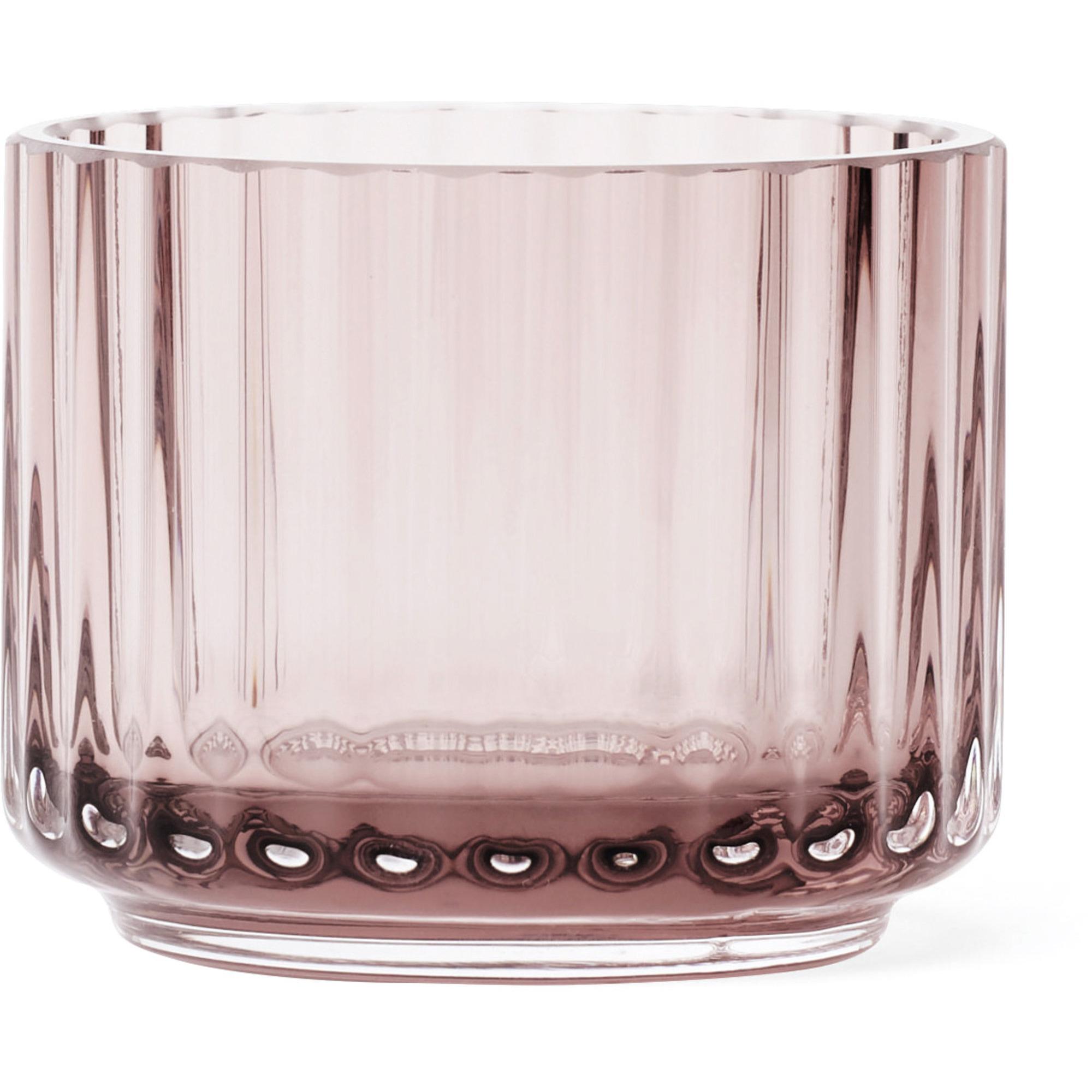 Lyngby Porcelæn Ljuslykta glas liten burgundy