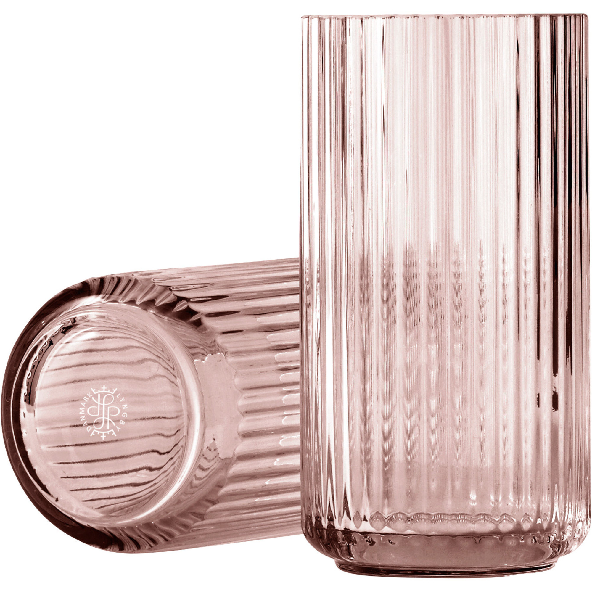 Lyngby Porcelæn Vas 20 cm., Glas Burgundy