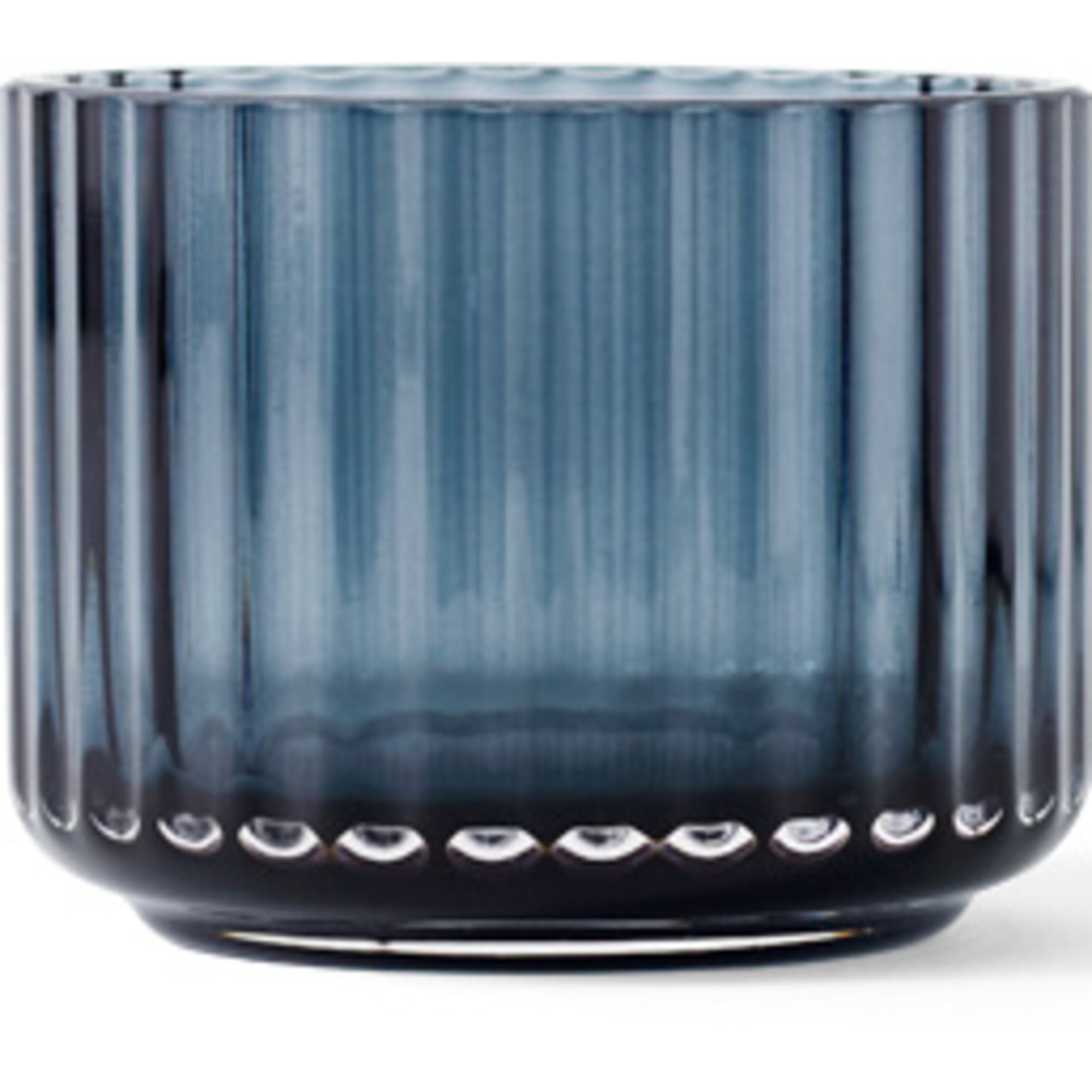 Lyngby Porcelæn Ljuslykta glas liten midnight blue