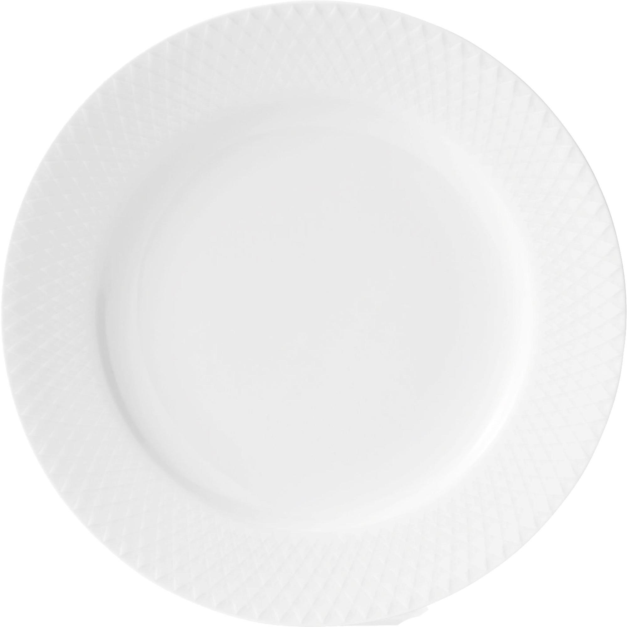 Lyngby Porcelæn Rhombe Tallrik 21 cm Vit