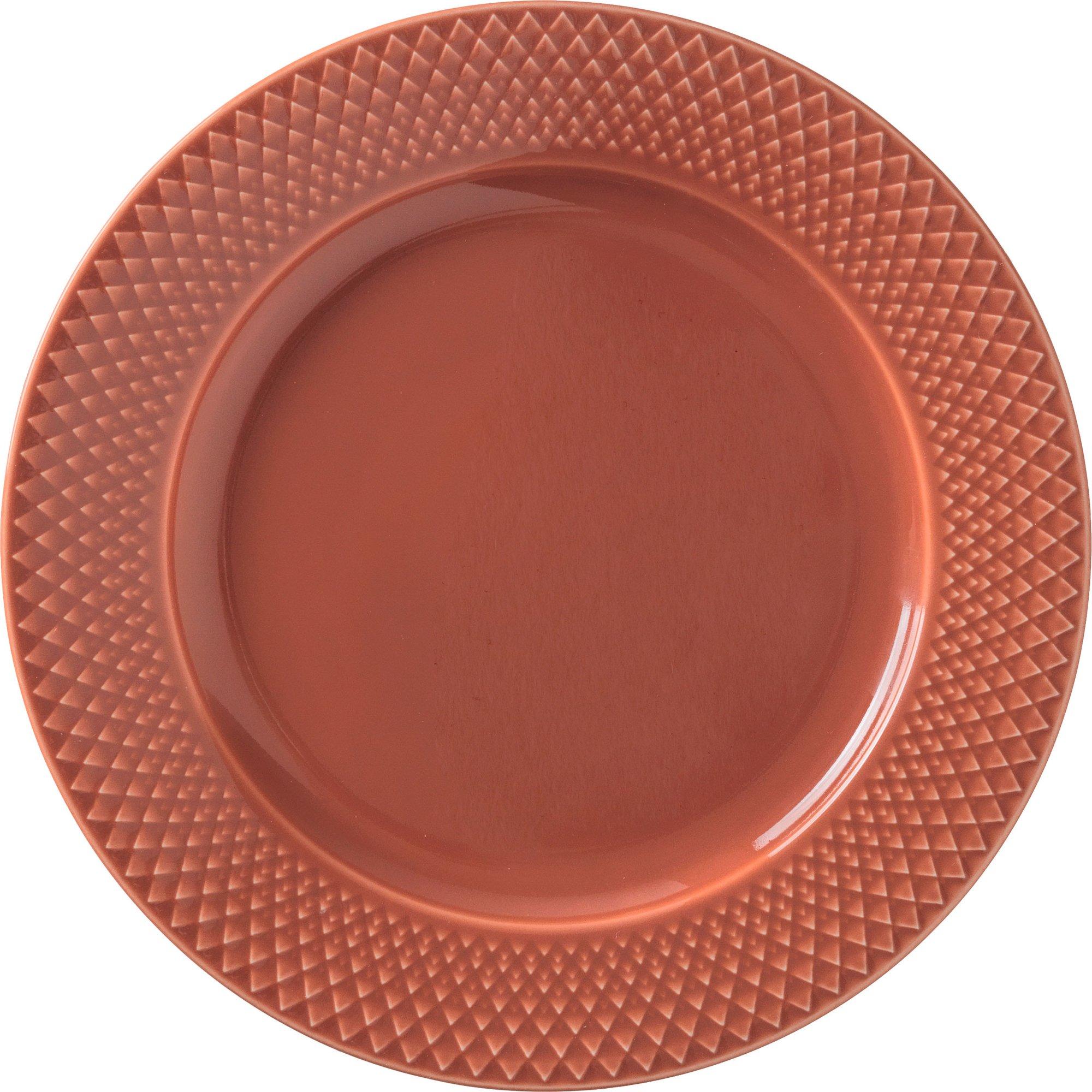 Lyngby Porcelæn Rhombe lunchtallrik 23 cm Terracotta