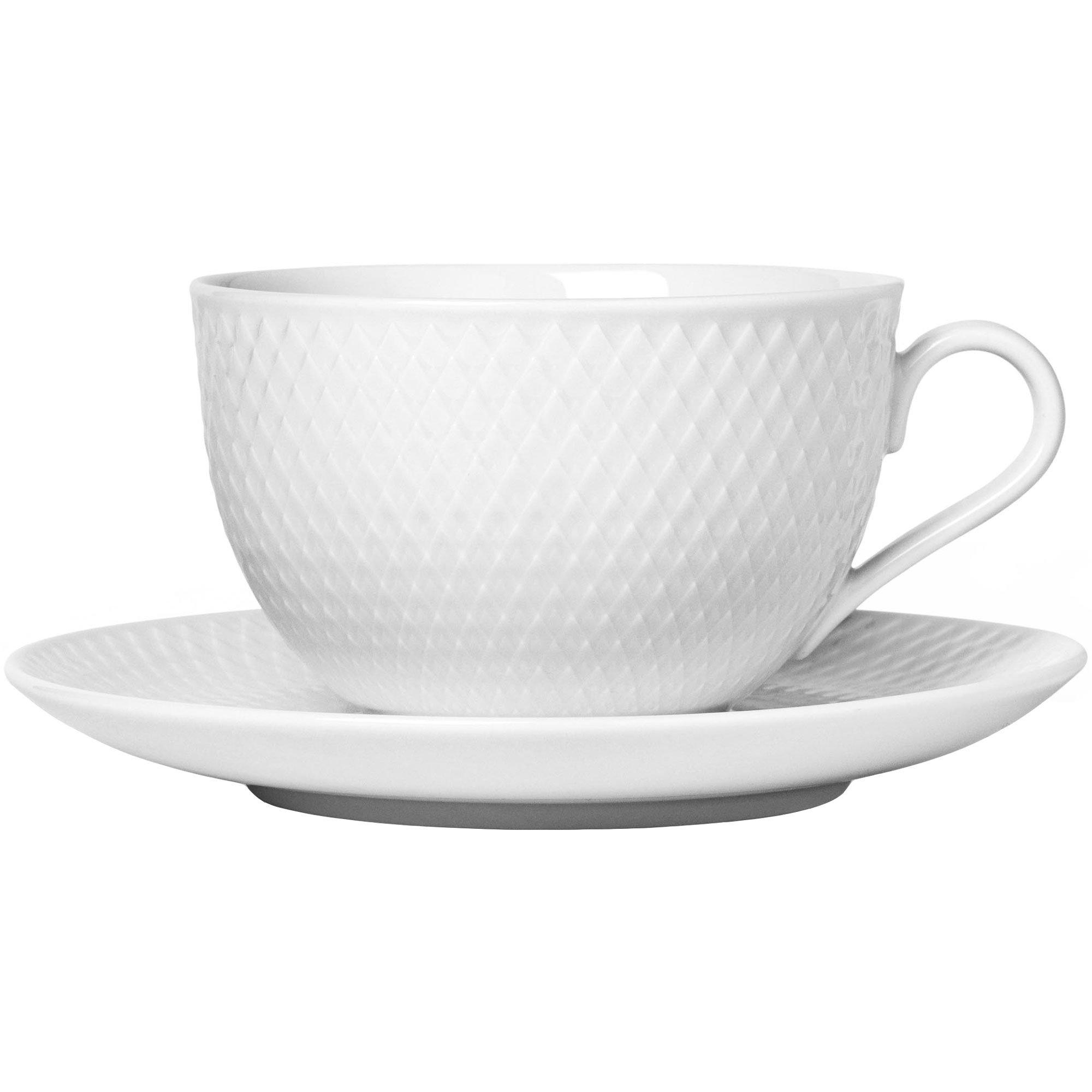 Lyngby Porcelæn Rhombe Tekopp med fat vit