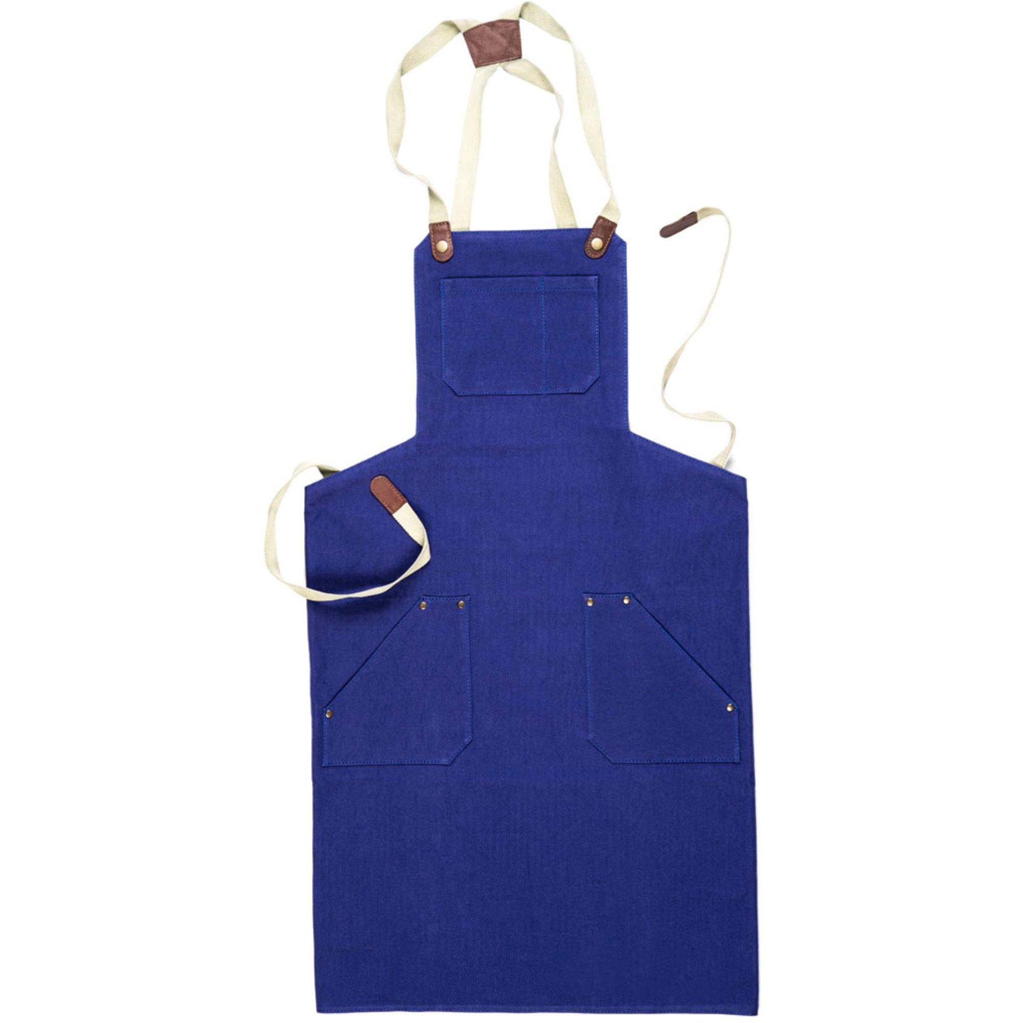 Mareld Förkläde Kanvas läder blå