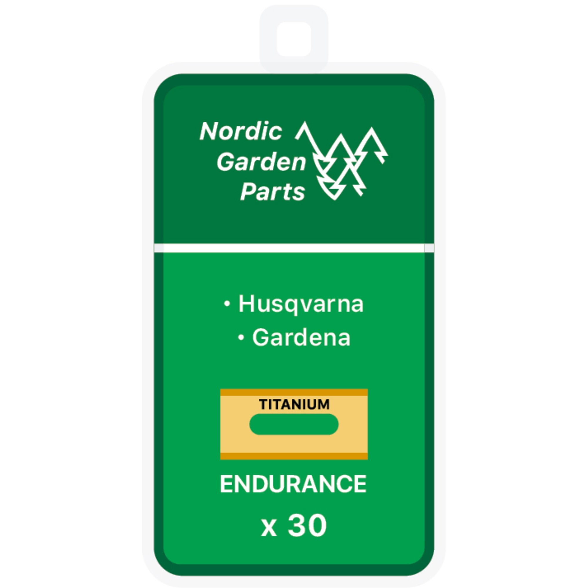 Nordic Garden Parts Endurance titanbelagda stålknivar till Husqvarna & Gardena 30 st
