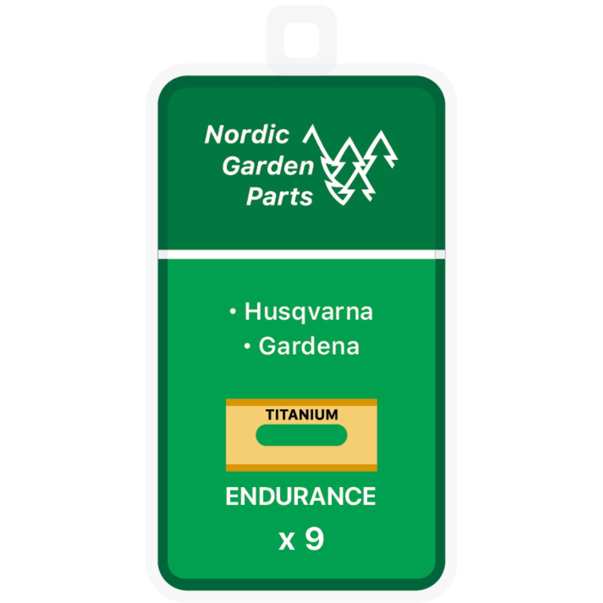 Nordic Garden Parts Endurance titanbelagda stålknivar till Husqvarna & Gardena 9 st