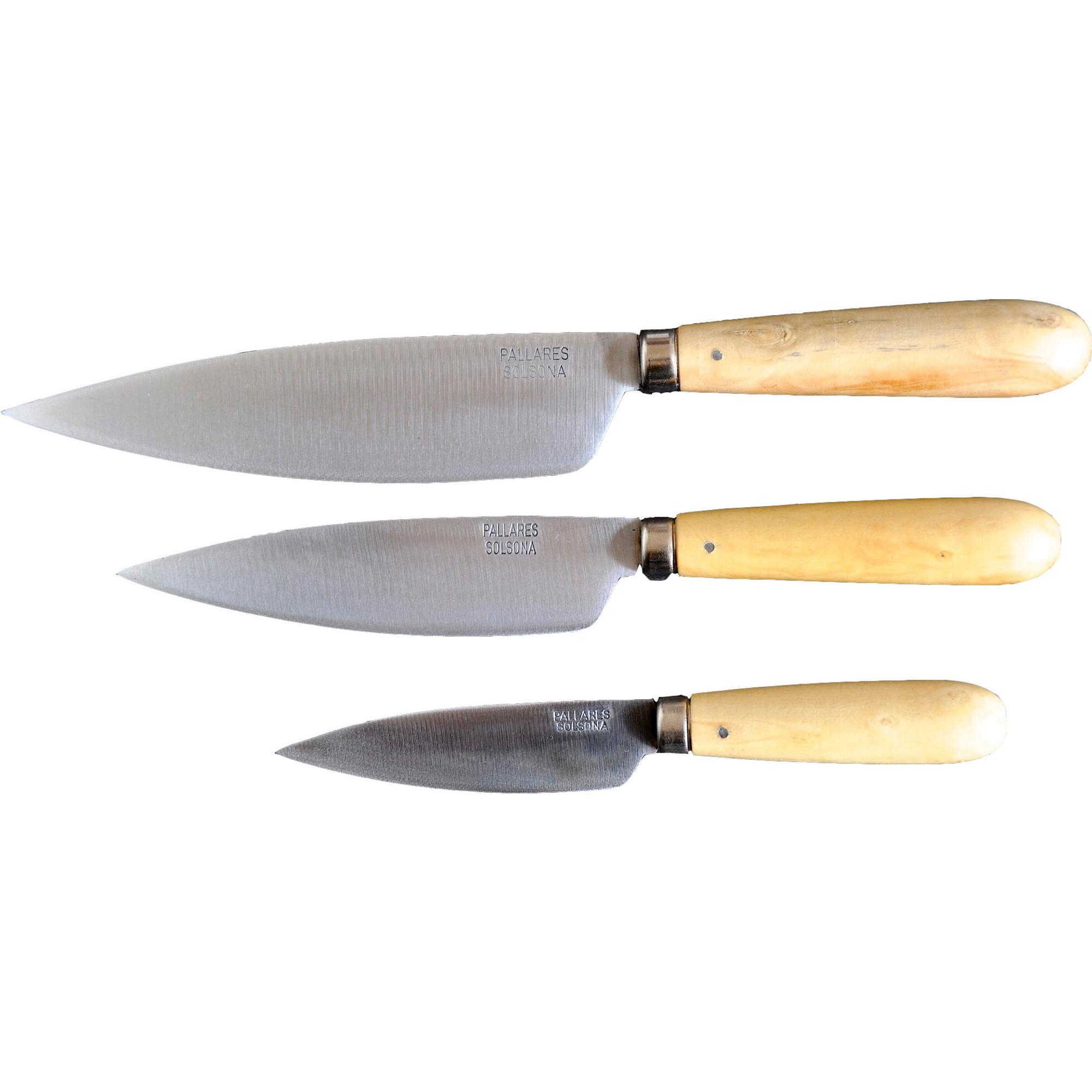 Pallarés Traditionella Köksknivar i set om 3 tygfodral, 9, 13, 16 cm