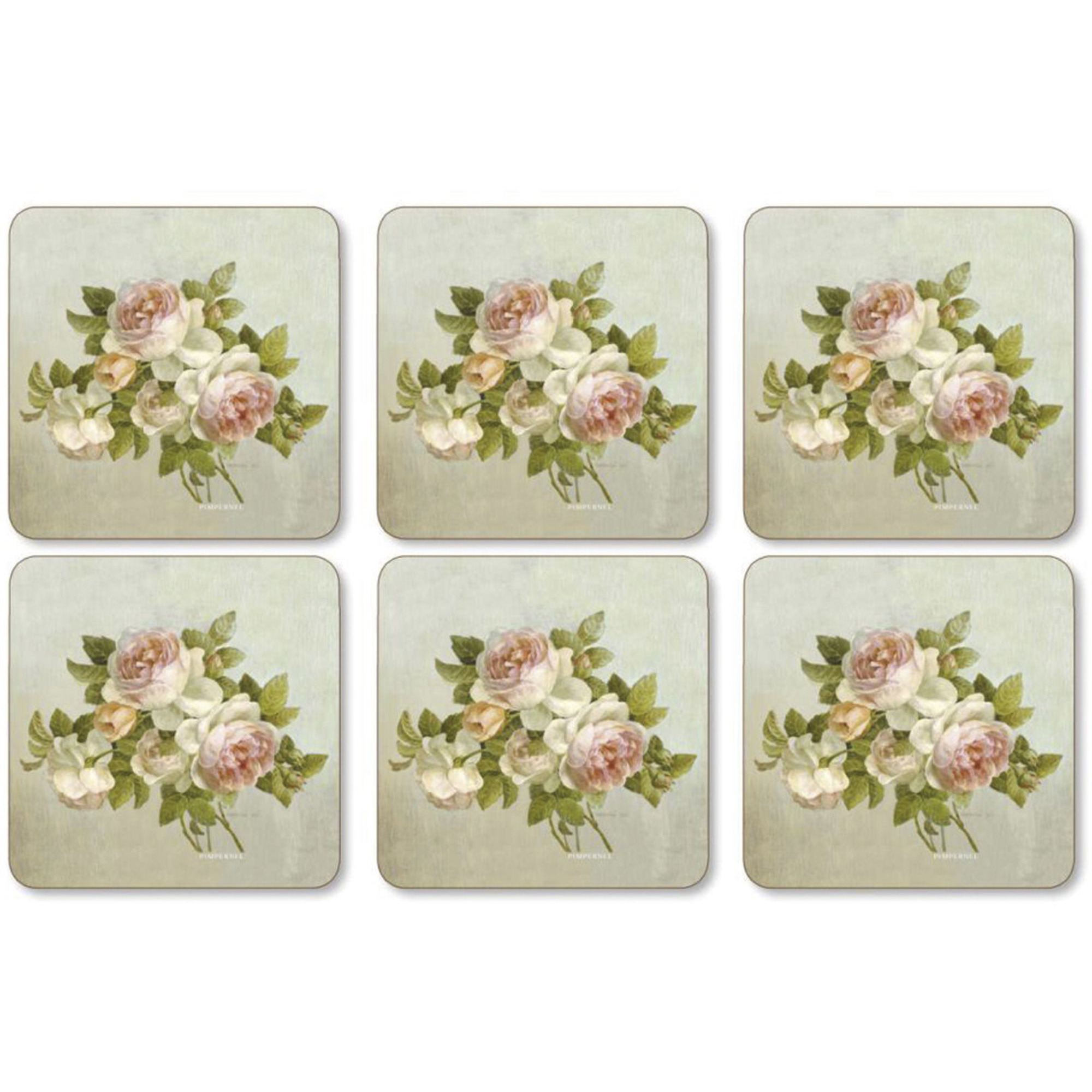 Pimpernel Antique Rose Glasunderlägg 6-pack