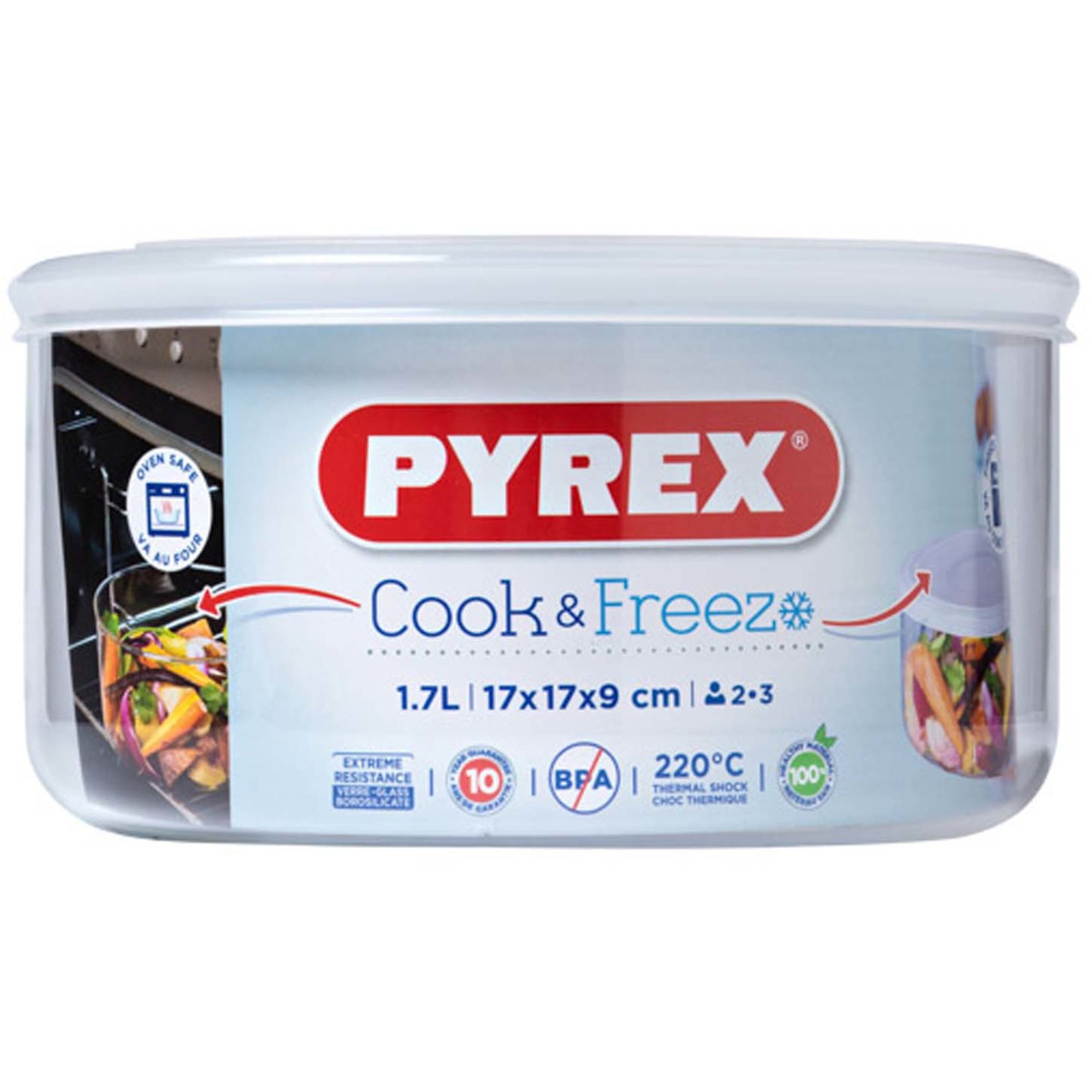 Pyrex Cook & Freeze Ugnsform med Lock/Matlåda 17×9 cm 17 l