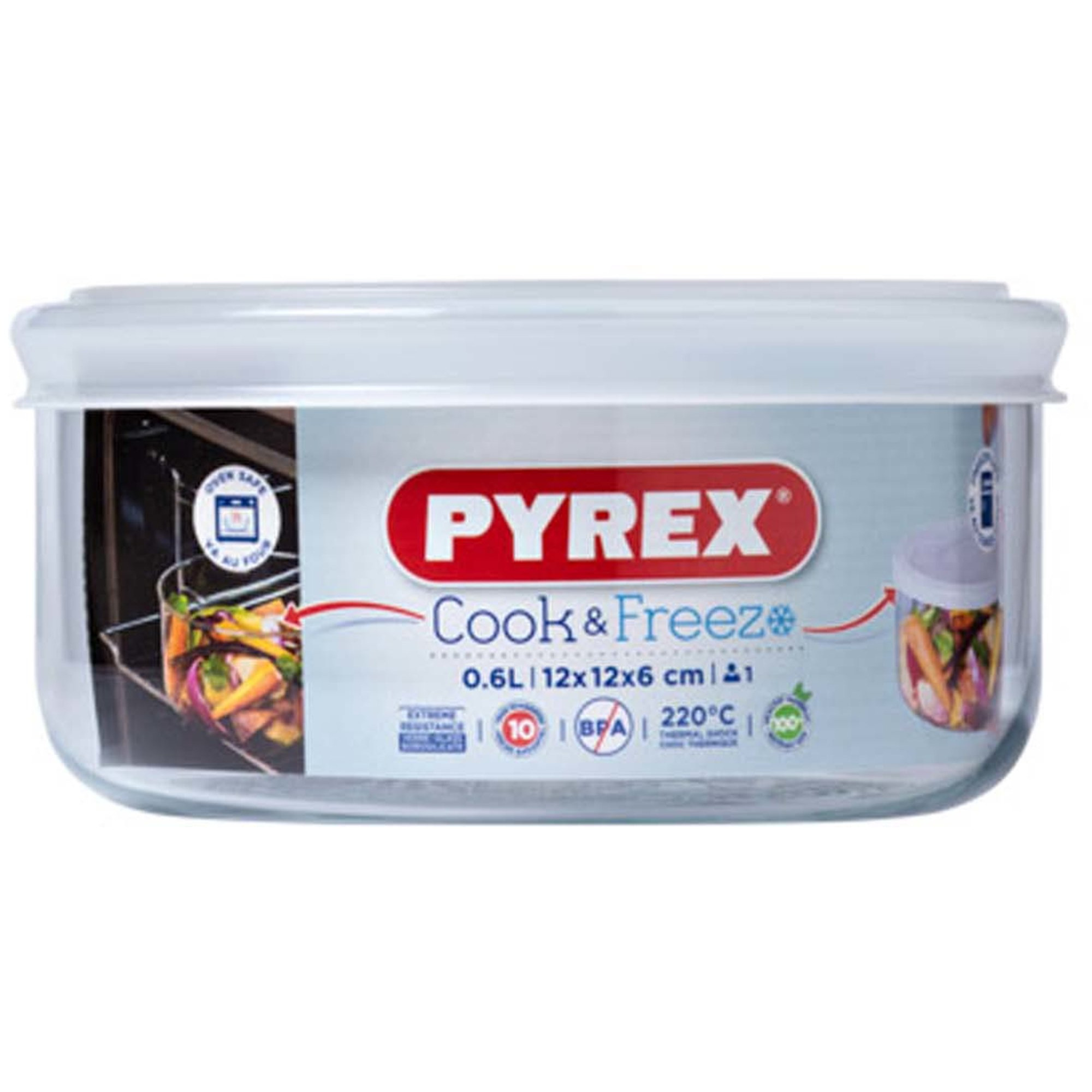 Pyrex Cook & Freeze Ugnsform med Lock/Matlåda 12×6 cm 06 l