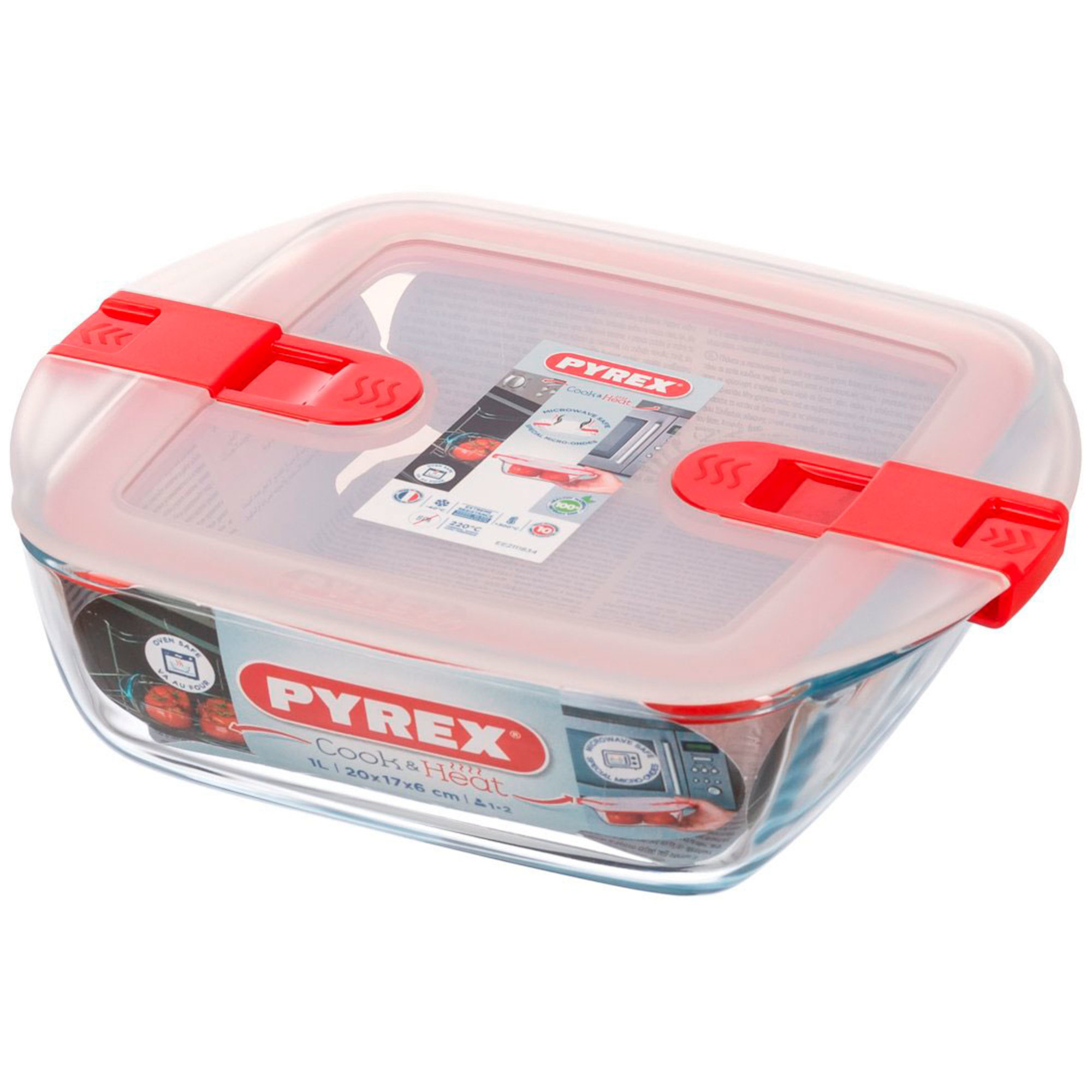 Pyrex Ugnsform Cook and Heat med lock 1 liter