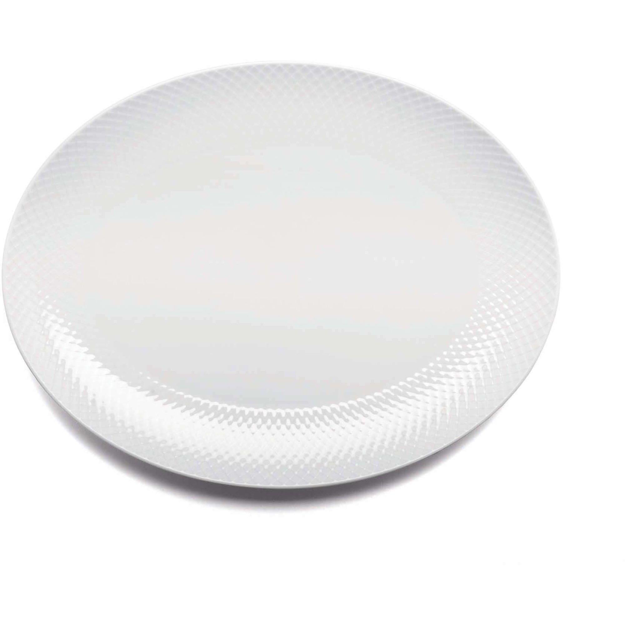 Lyngby Porcelæn Rhombe Oval serveringsfat 35×265 Vit