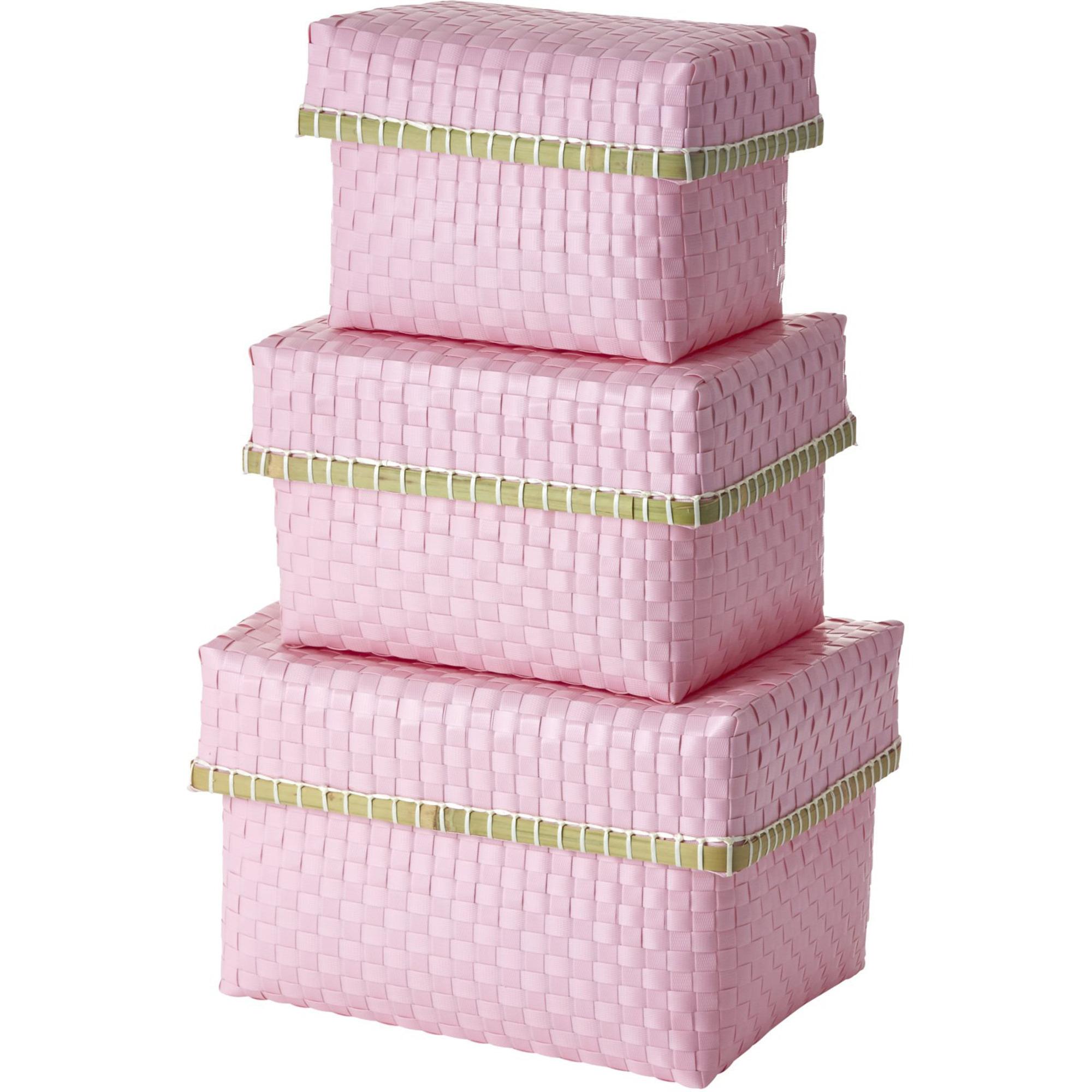 Rice Förvaringsboxar 3-storlekar Plastband Rosa