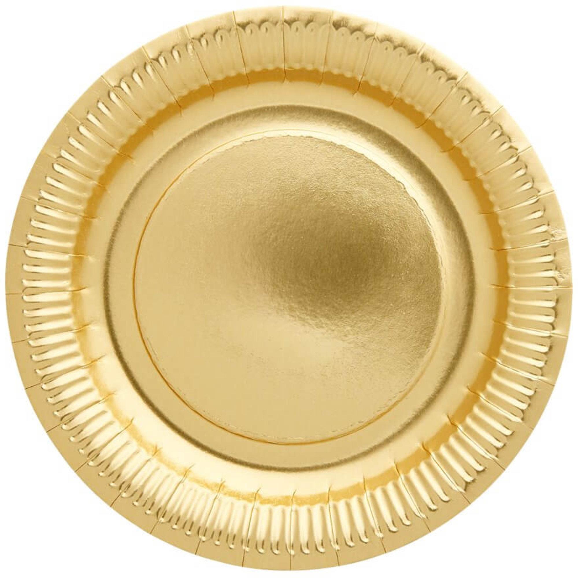 Rice Papperstallrikar Guld 8-pack