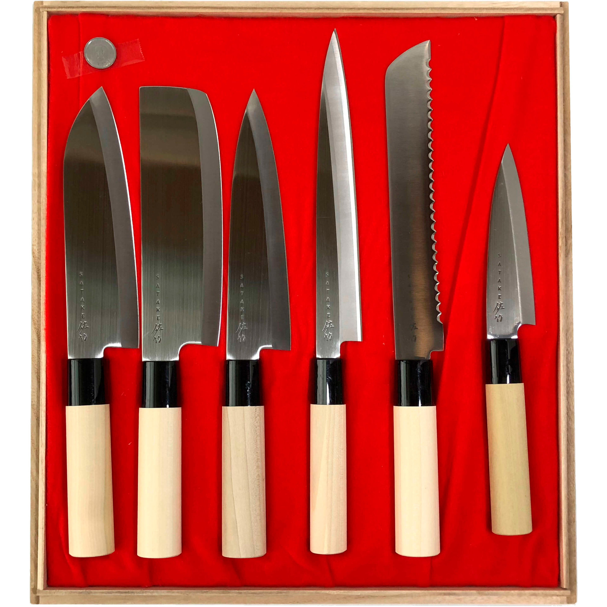 Satake Houcho Knivset i Balsabox sex knivar