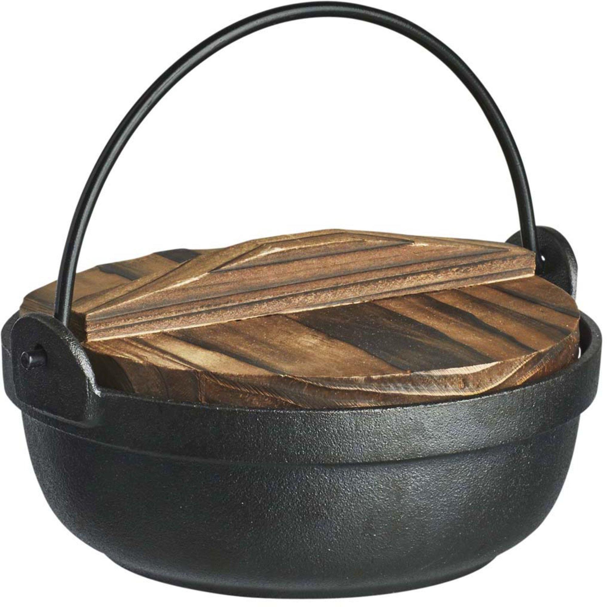 Satake Gjutjärnsgryta med ugnssäkert lock och trälock Ø 17 cm 0,8 l