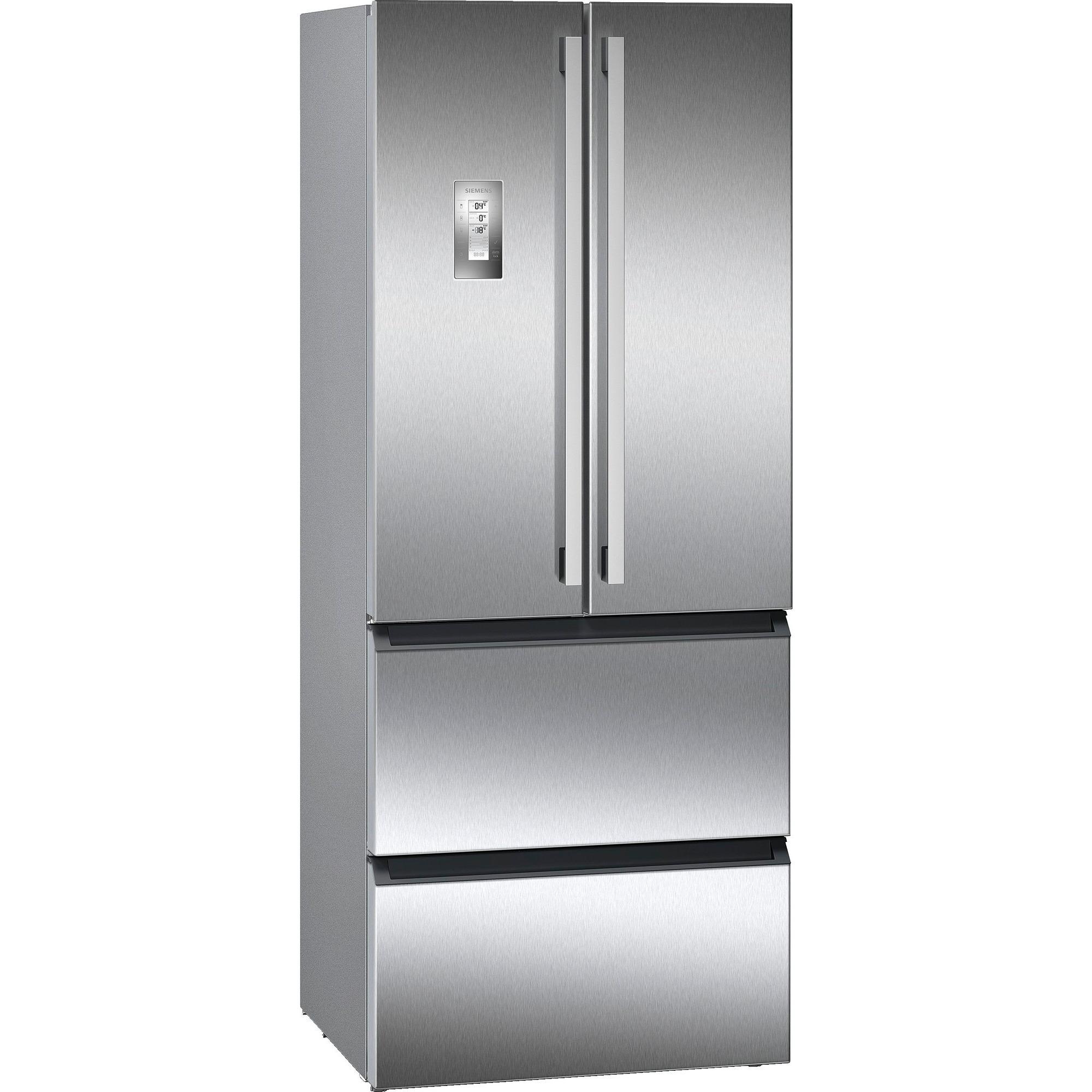 Siemens iQ700 Kylskåp/frys med dubbeldörrar stål