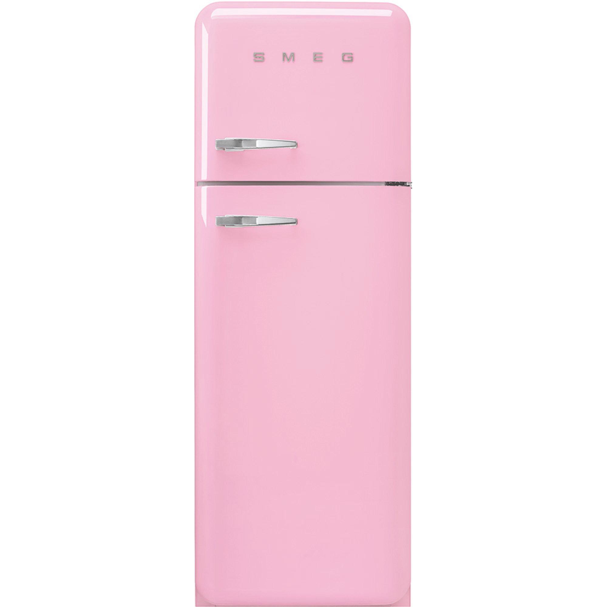 Smeg 172cm Højrehængt Køle/Fryseskab i 50'er Retro Design, Rosa