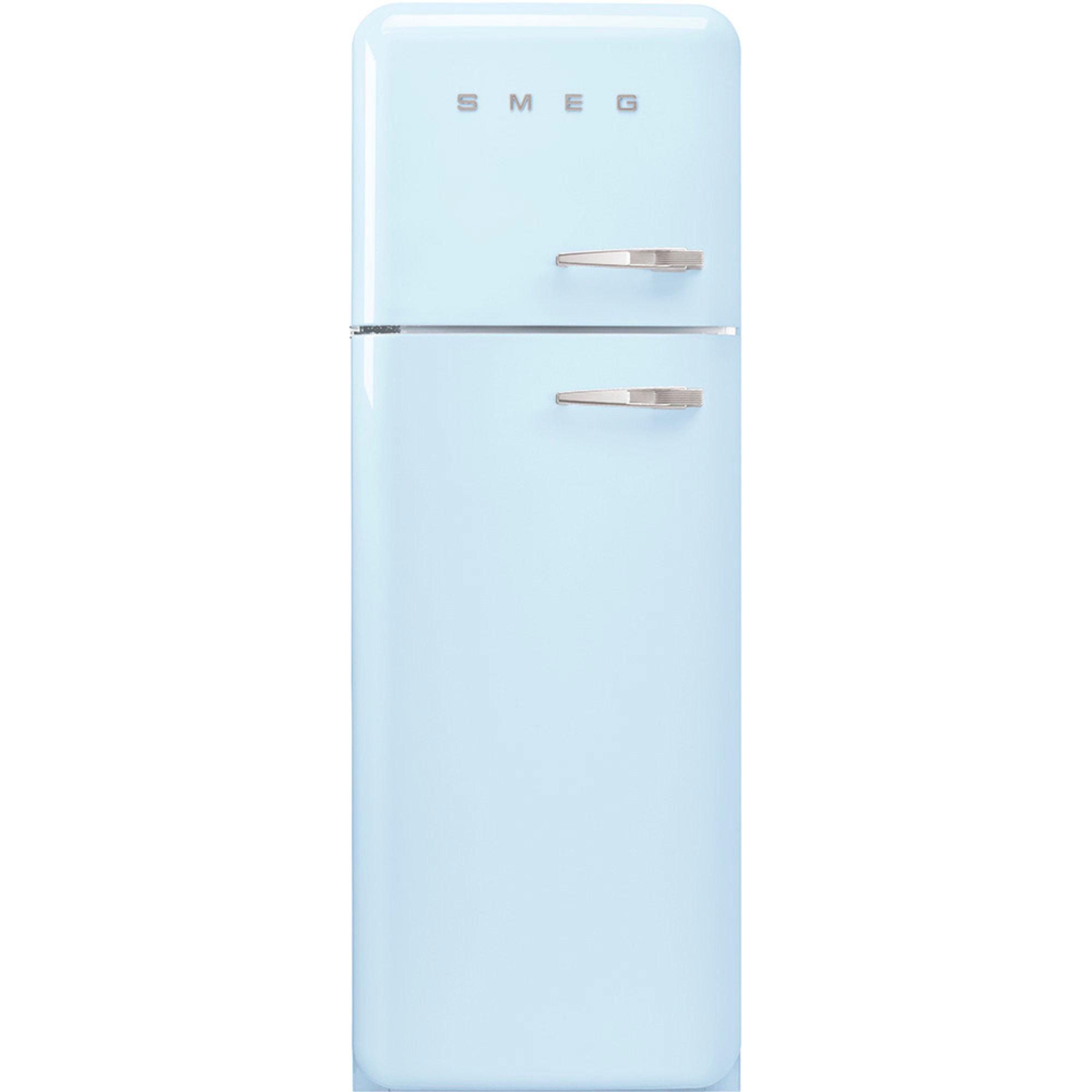 Smeg 172 cm Vänsterhängt kylskåp/frys i 50-tals Retro Design Pastellblå