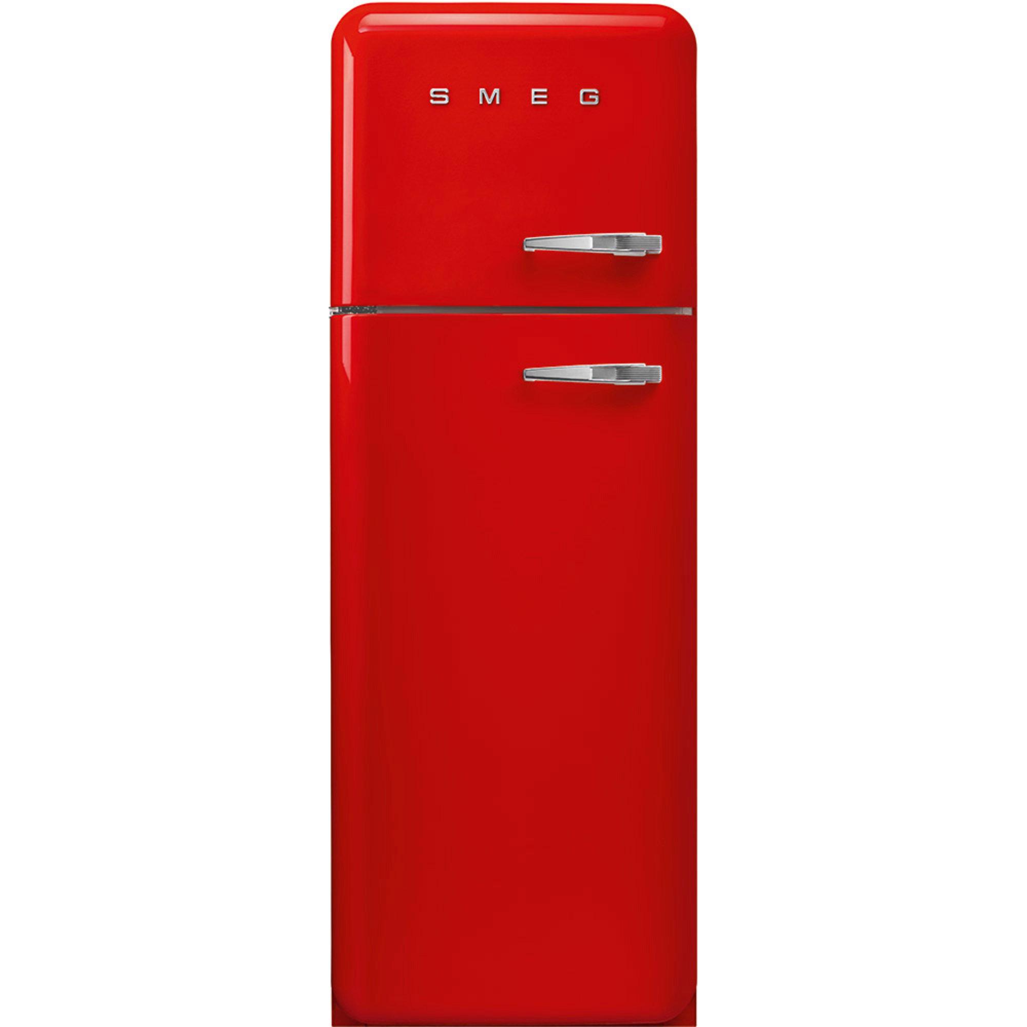 Smeg 172 cm Vänsterhängt Kylskåp/frys i 50-tals Retrodesign Röd