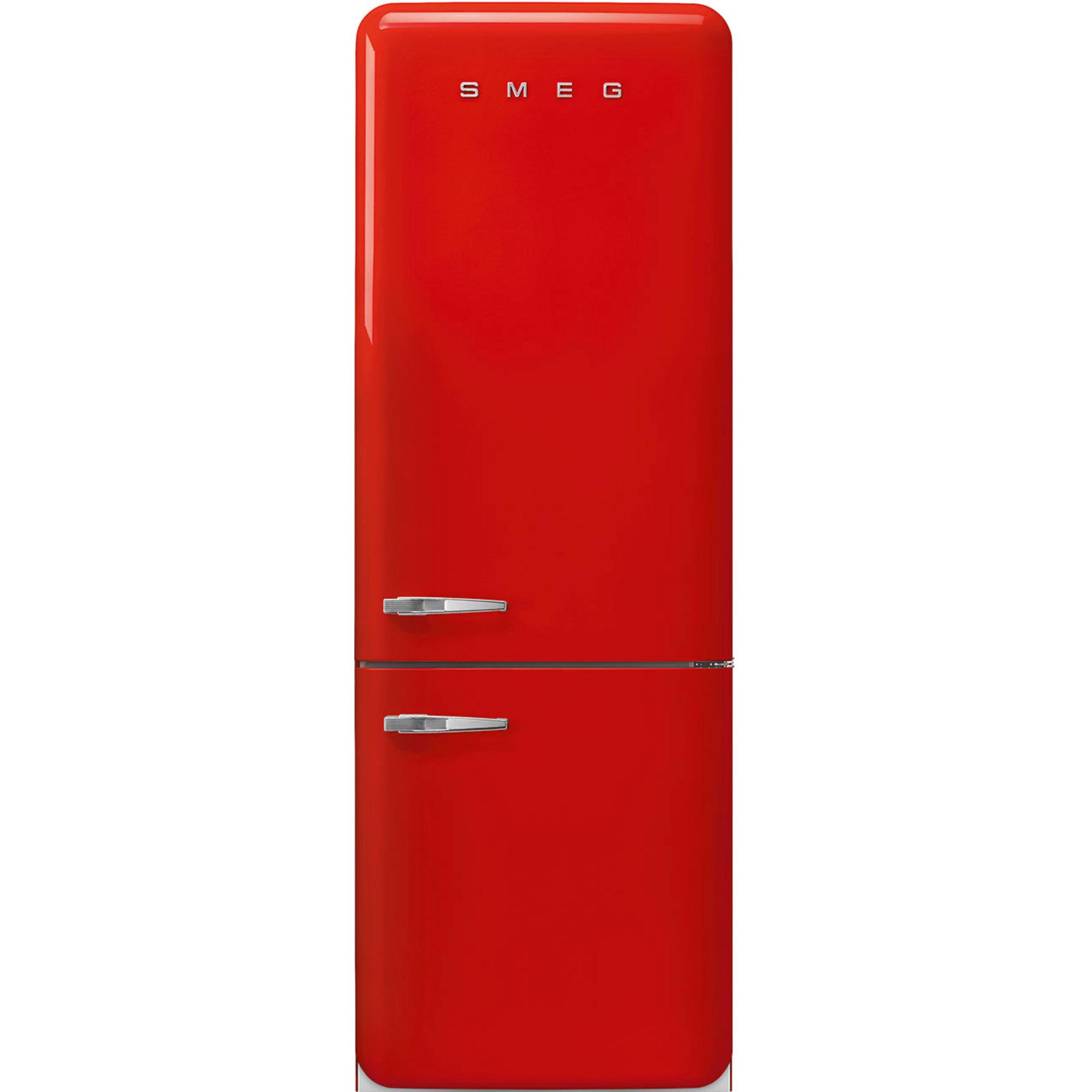 Smeg 205 cm Högerhängt Kylskåp/frys i 50-tals Retrodesign Röd