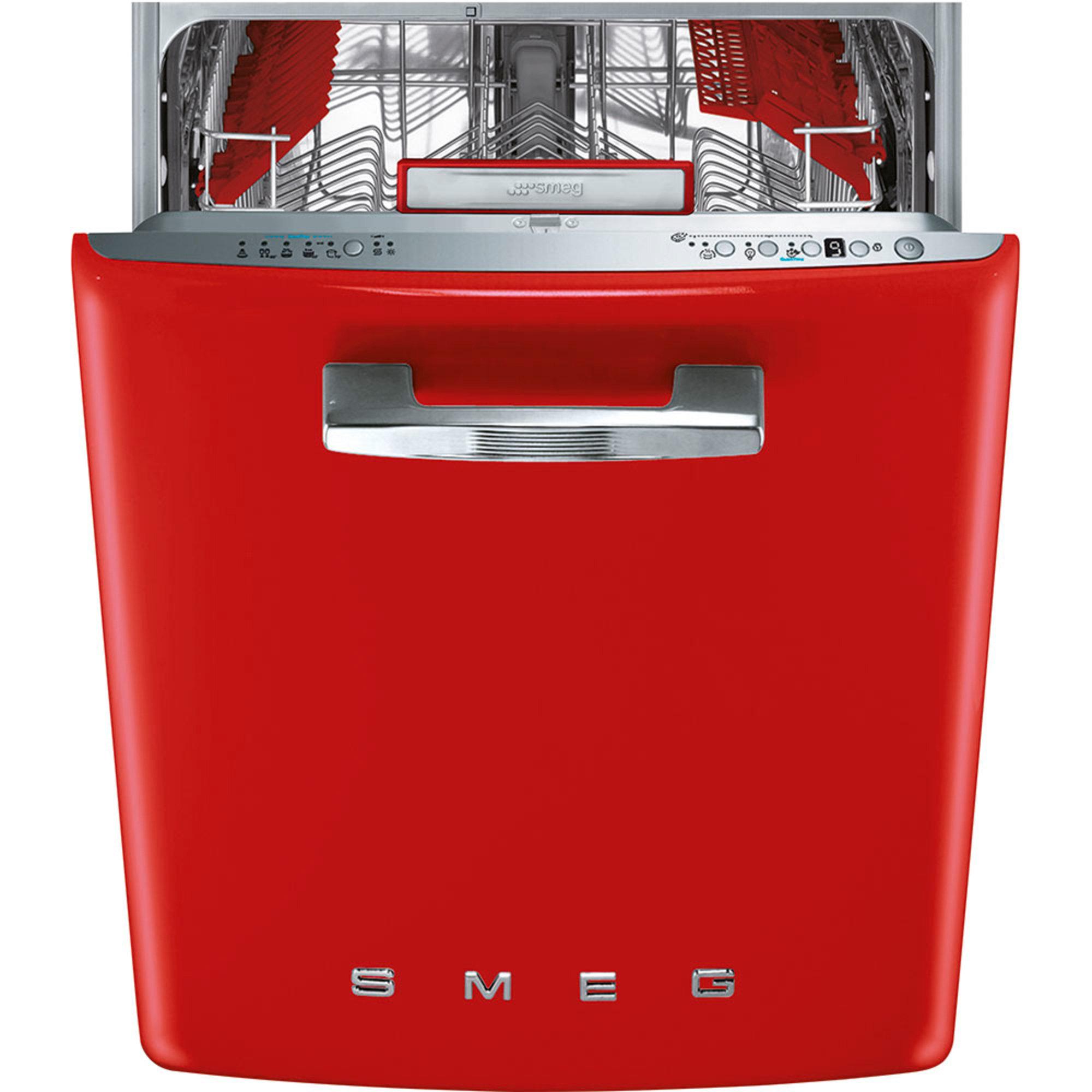 Smeg 60 CM Diskmaskin i retrostil röd A+++A