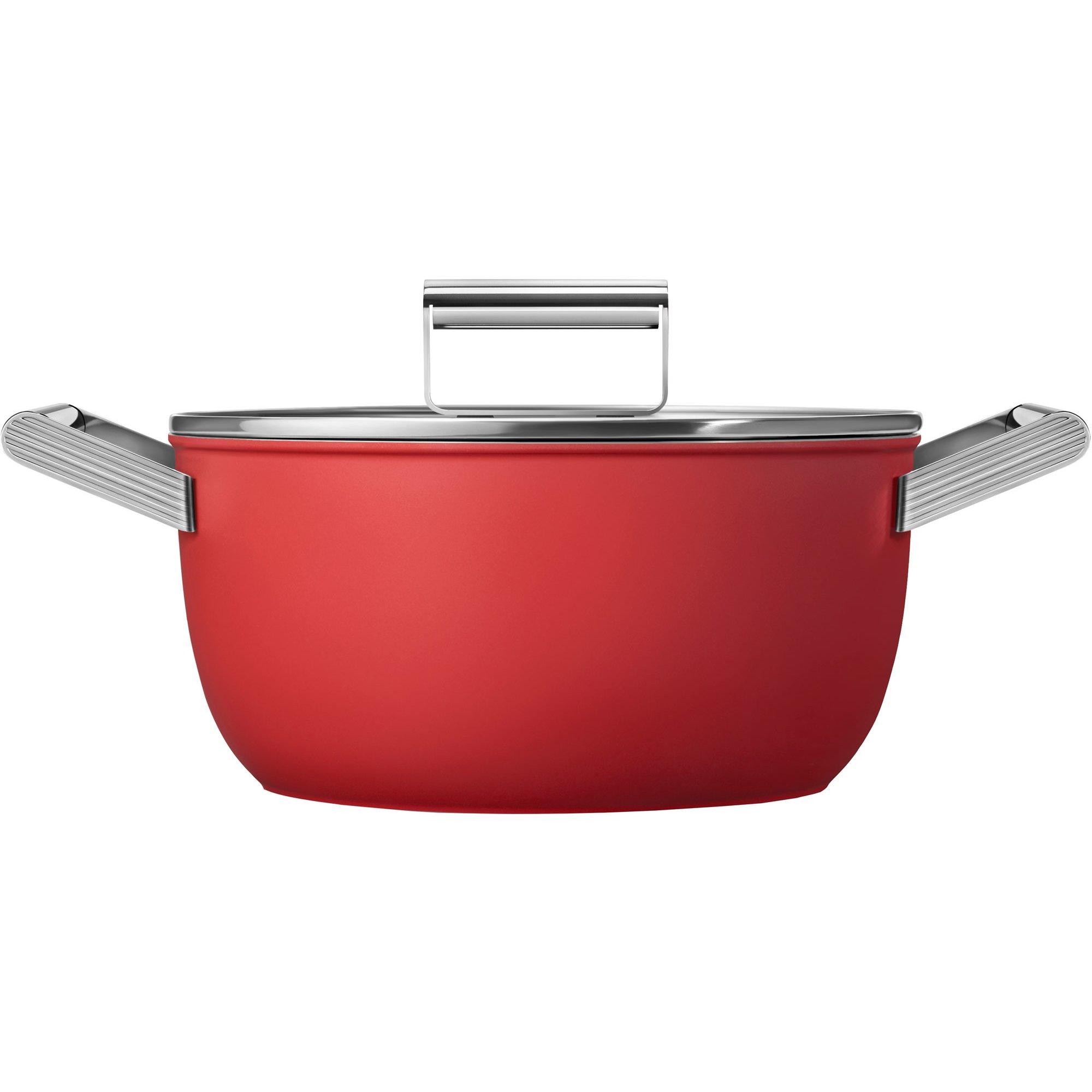 Smeg Kastrull m/lock 24 cm röd