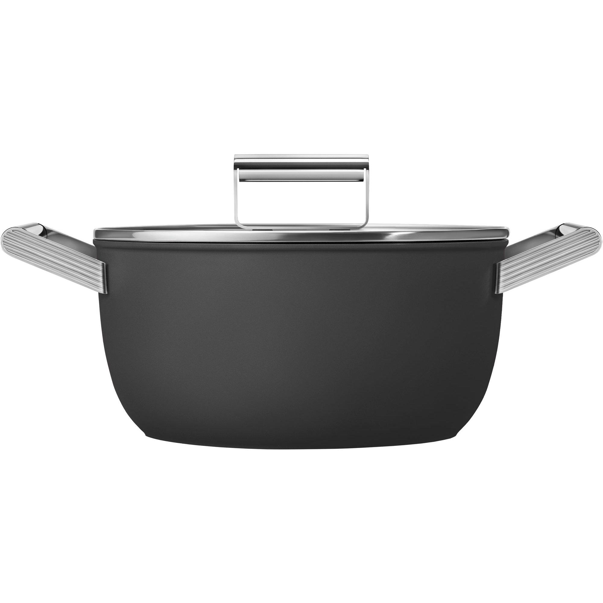 Smeg Kastrull m/lock 24 cm svart