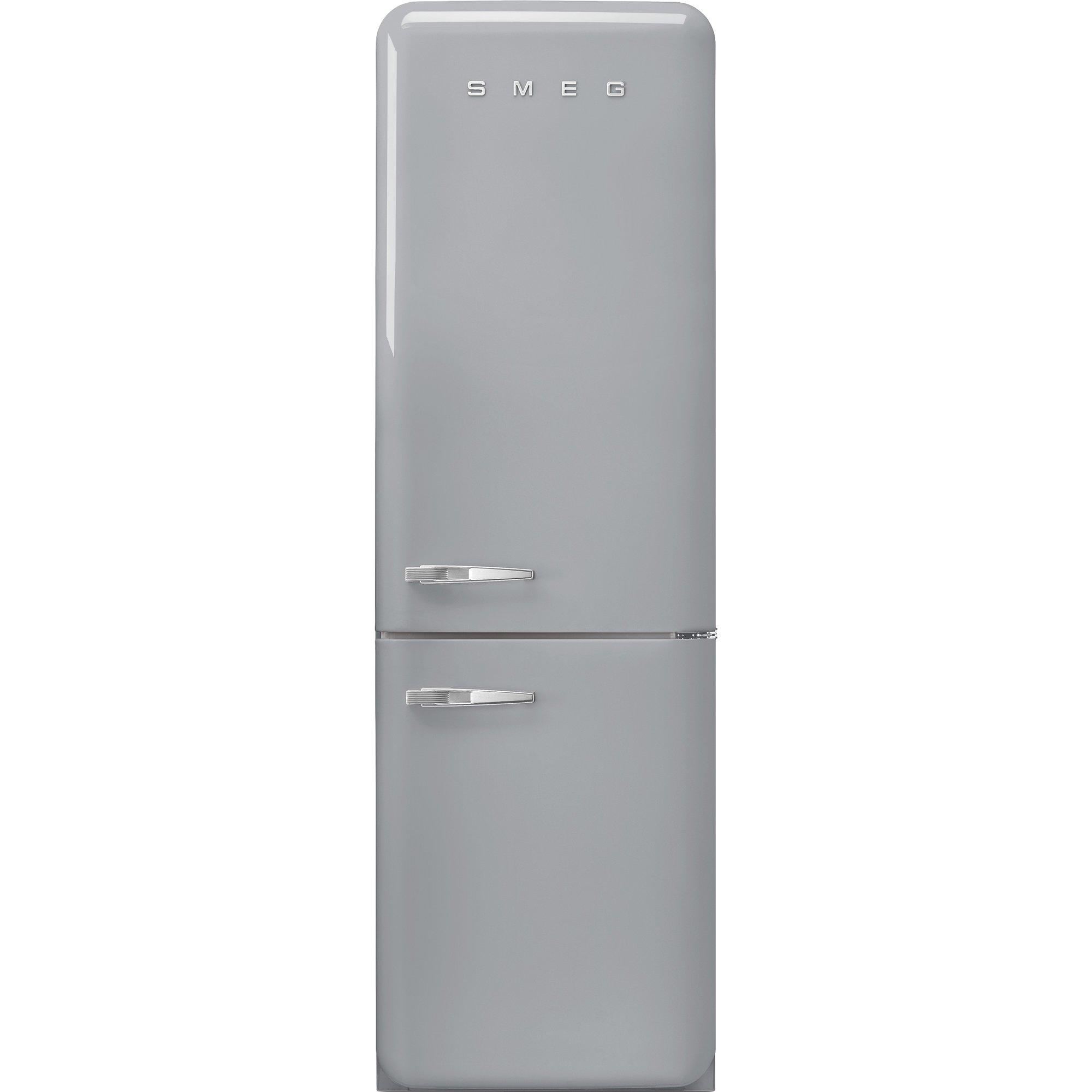 Smeg Kylskåp/frys i retrodesign högerhängt silvergå