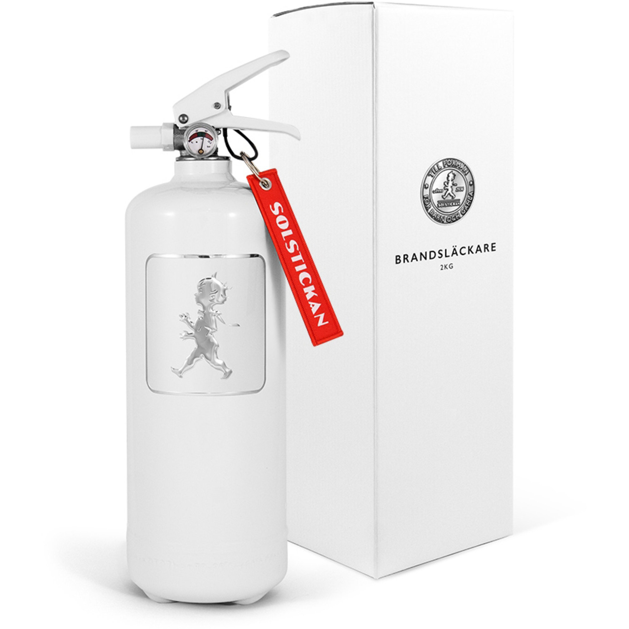Solstickan Design Brandsläckare 2kg Vit med Vitt Emblem