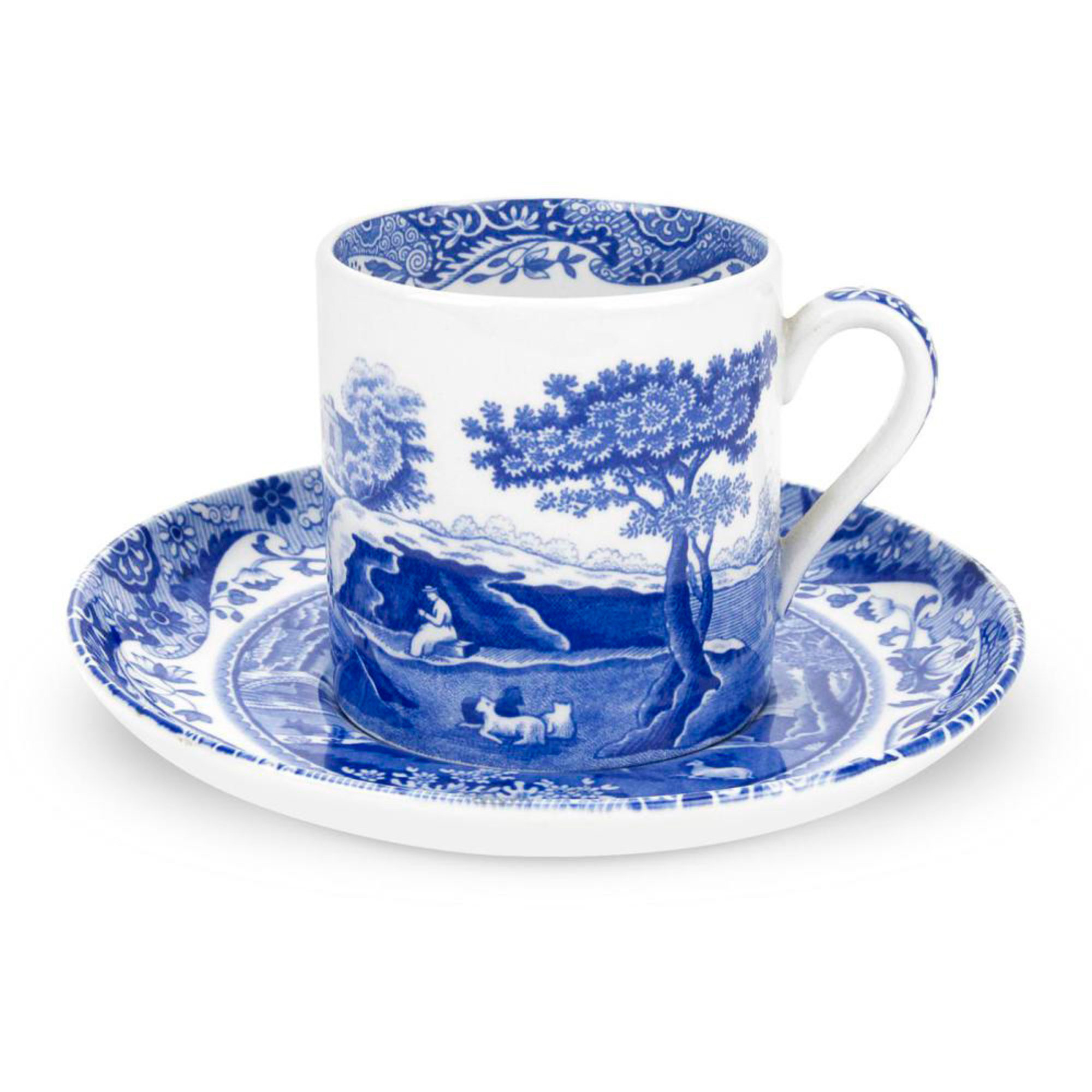 Spode Blue Italian Kaffekopp & Fat 9 cl