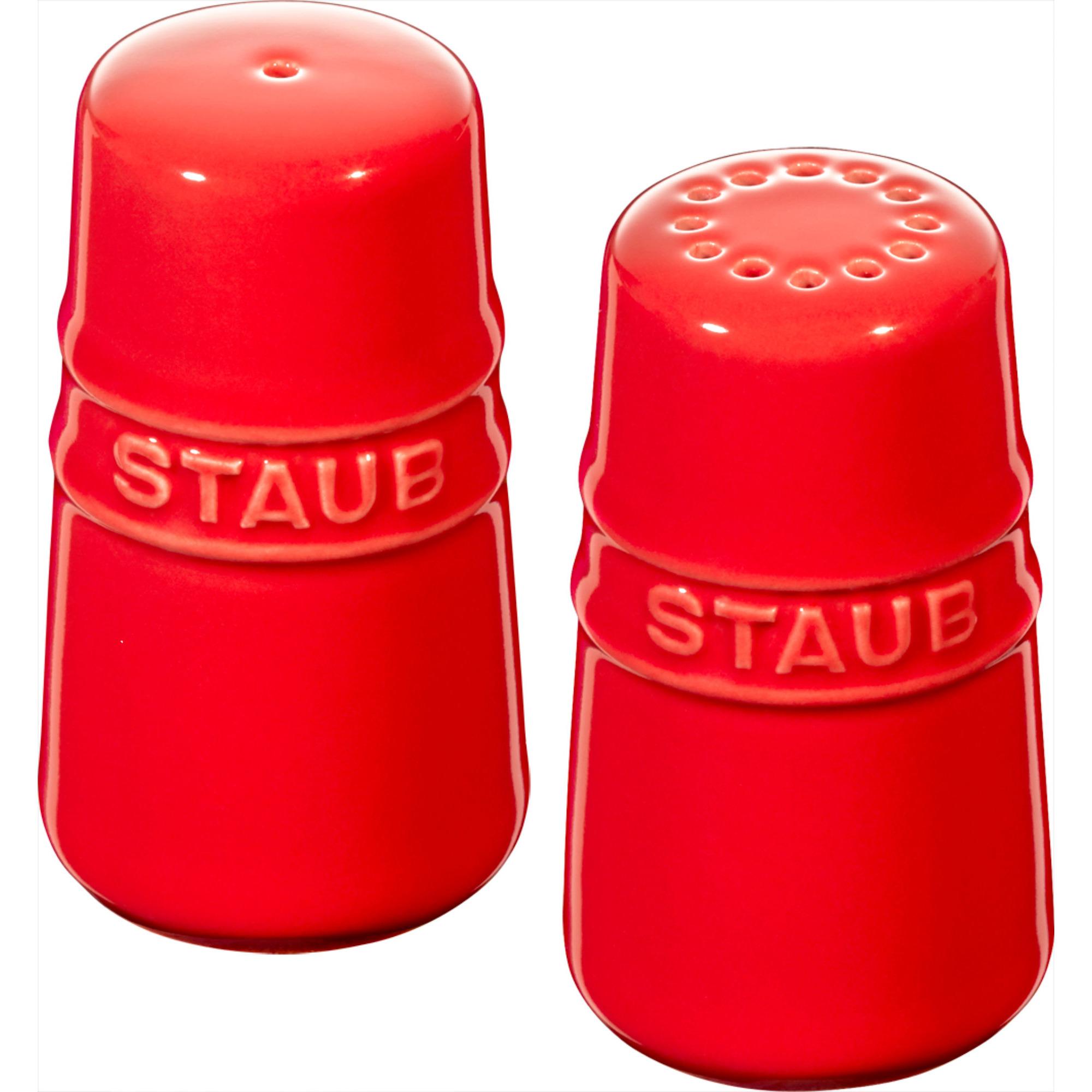Staub Ceramic Salt & Peppar Set Röd 7 cm