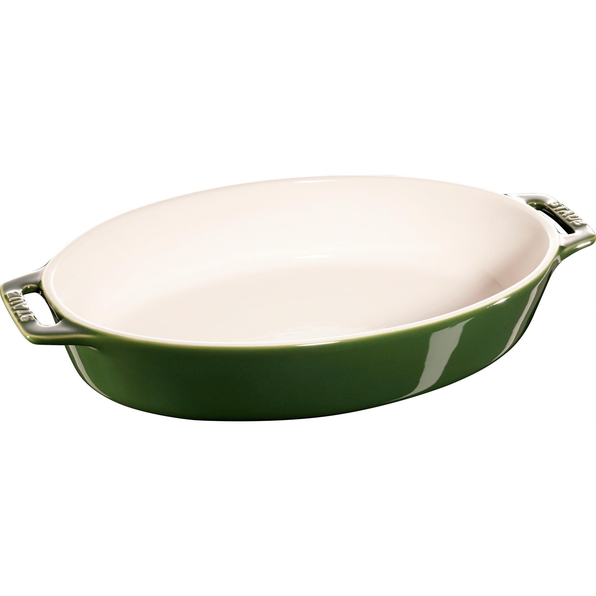 Staub Oval Form 29 cm Grön