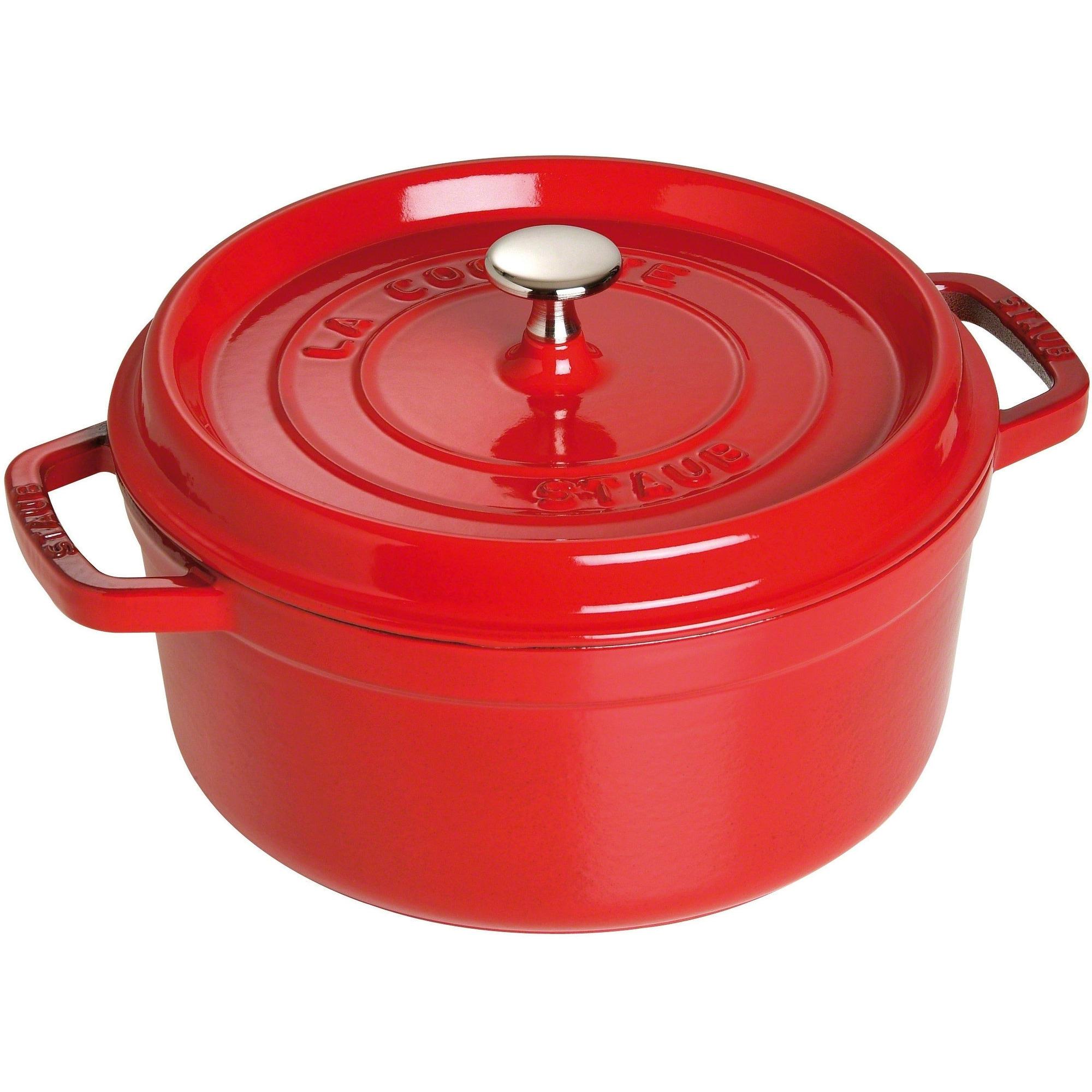 Staub Rund Gryta 24 cm 38 liter Röd