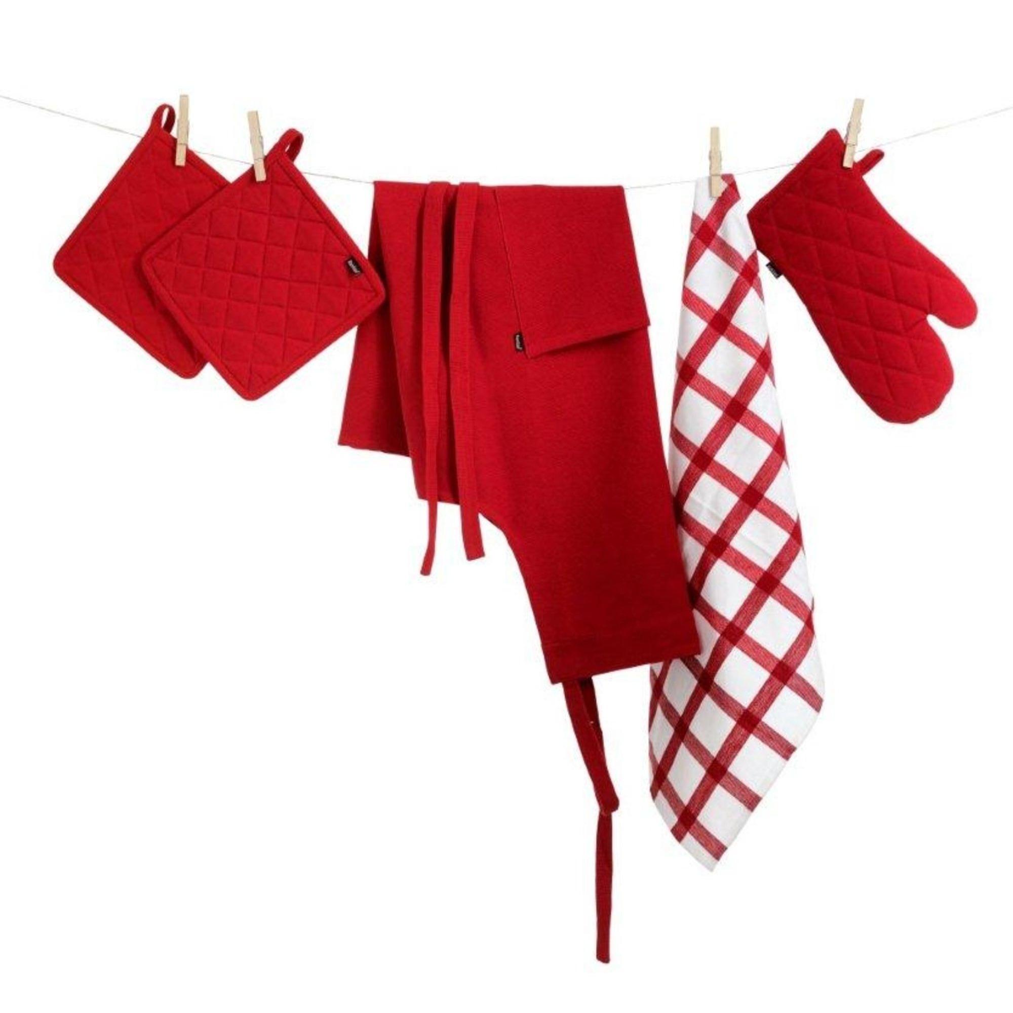 Bastian Textilset vit/röd