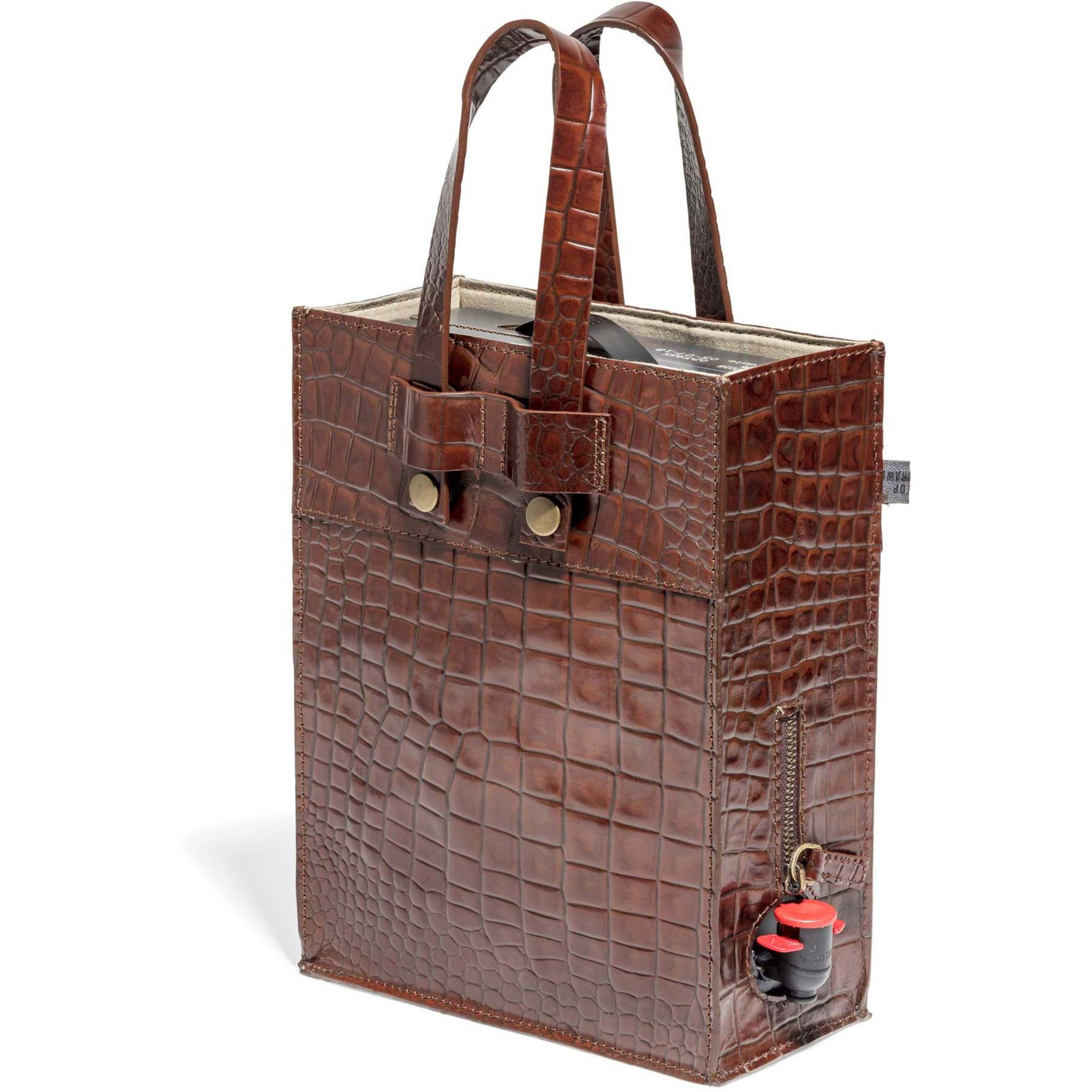 Top Drawer Bag in box i Croco mönster, Dk Cognac, 3 lit