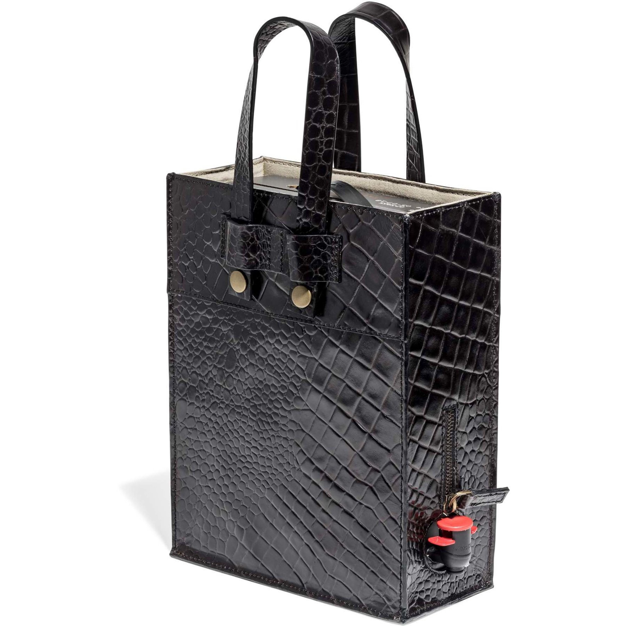 Top Drawer Bag in box i Croco mönster, black, 3 lit