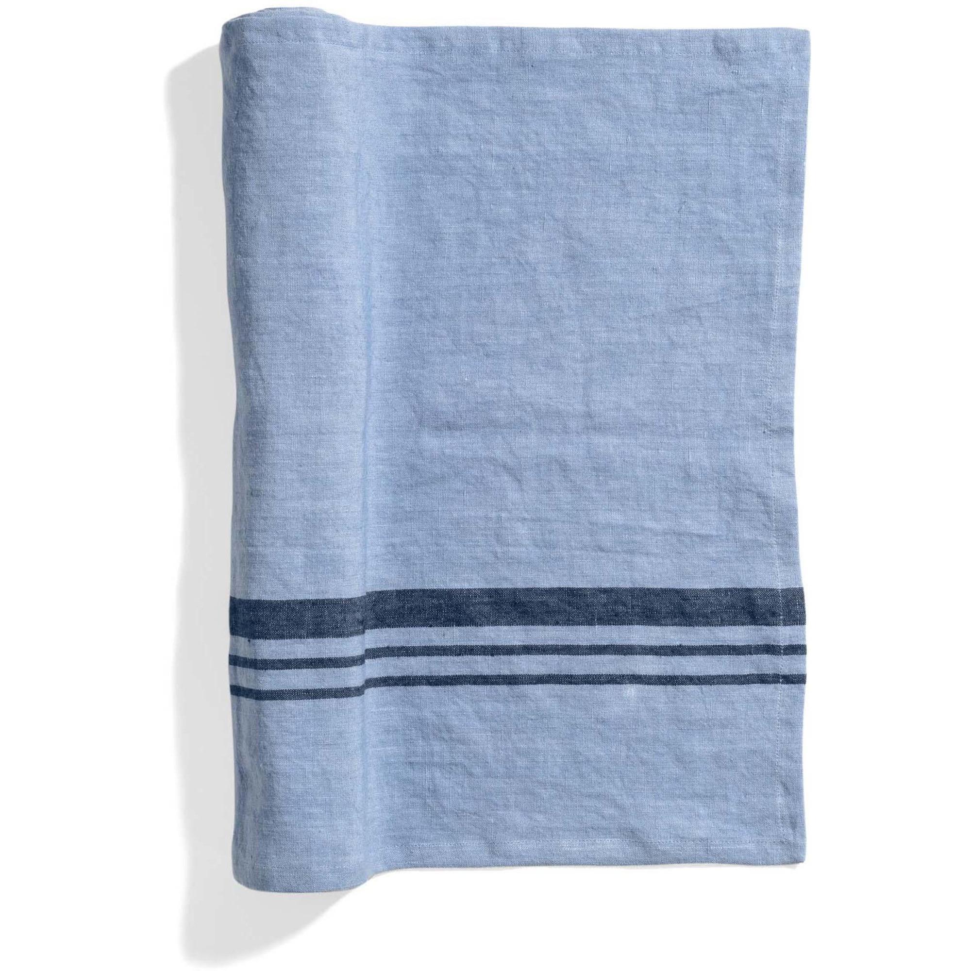 Top Drawer Bordslöpare LIFT i linné stripe Misty Blue