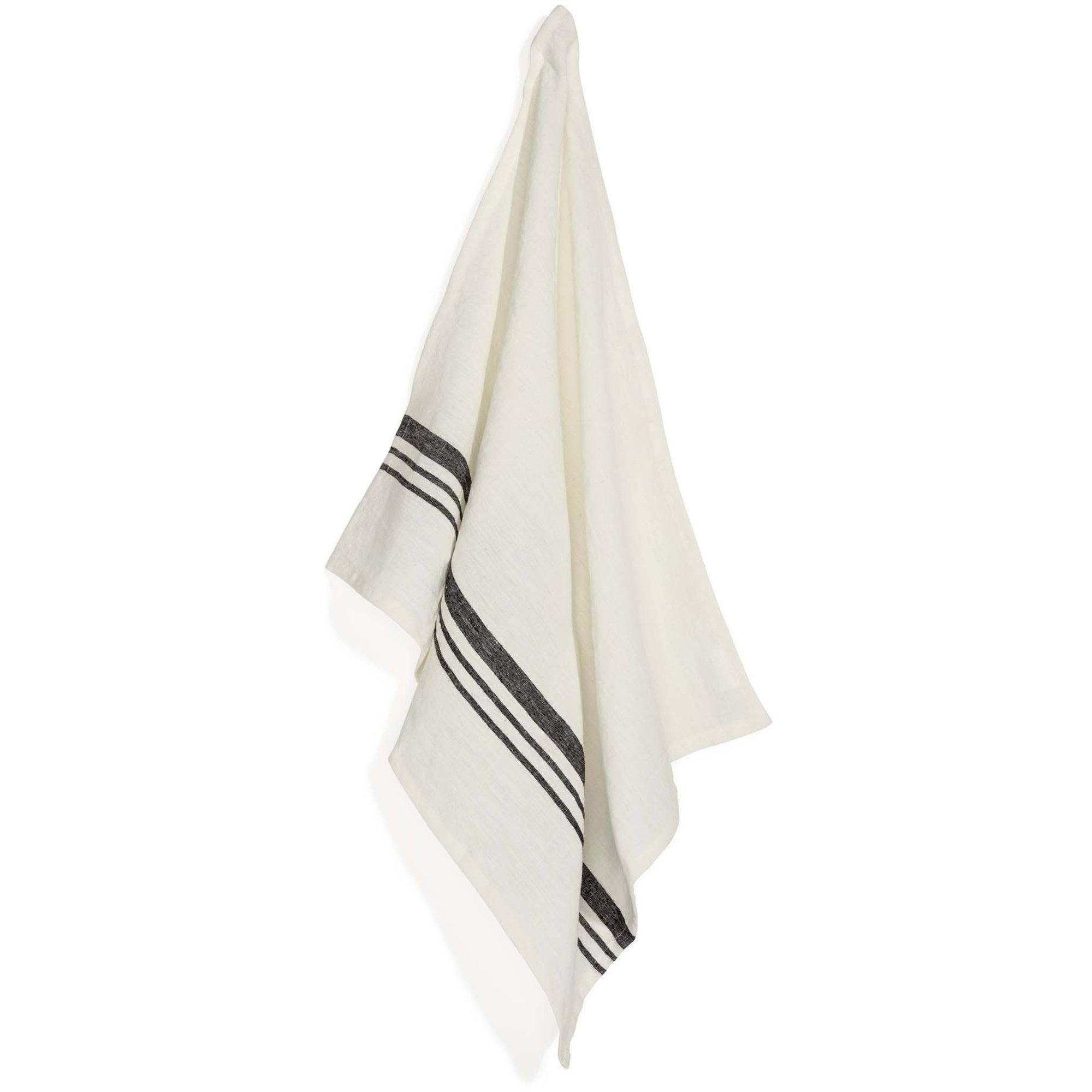 Top Drawer Kökshandduk LEARY i linné stripe Off White 2-pack