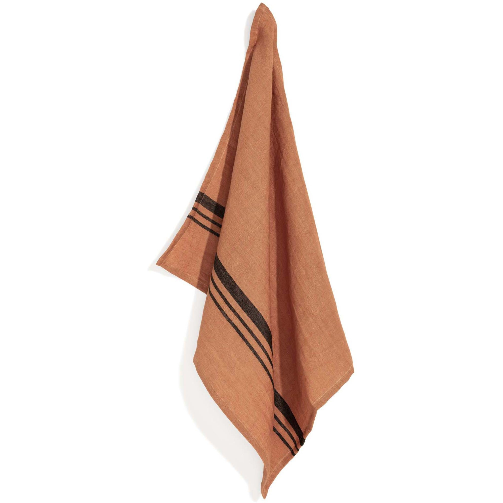 Top Drawer Kökshandduk LEARY i linné stripe Dry Terracotta 2-pack