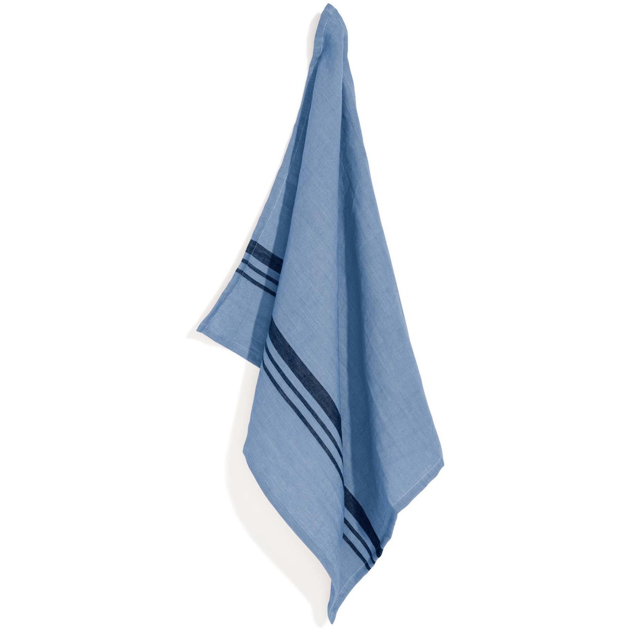 Top Drawer Kökshandduk LEARY i linné stripe Misty Blue 2-pack