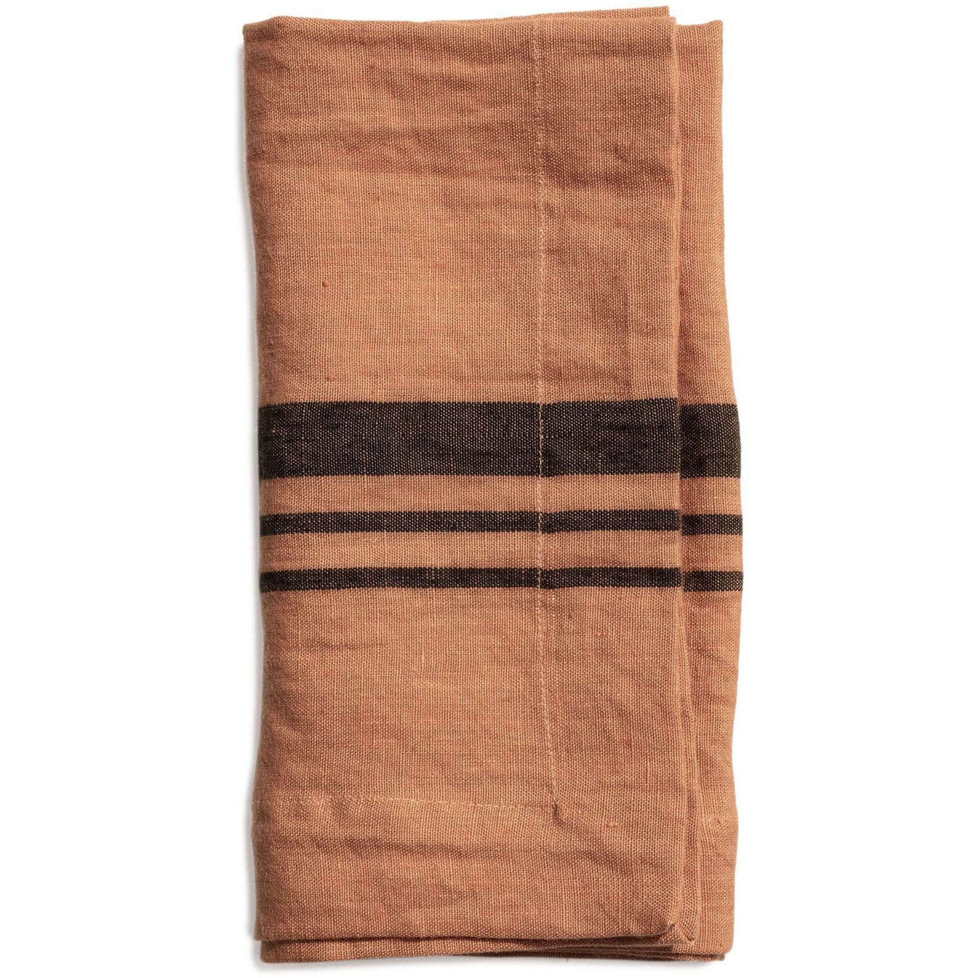 Top Drawer Servett LITTLEWOOD i linné stripe Dry Terracotta 4-pack